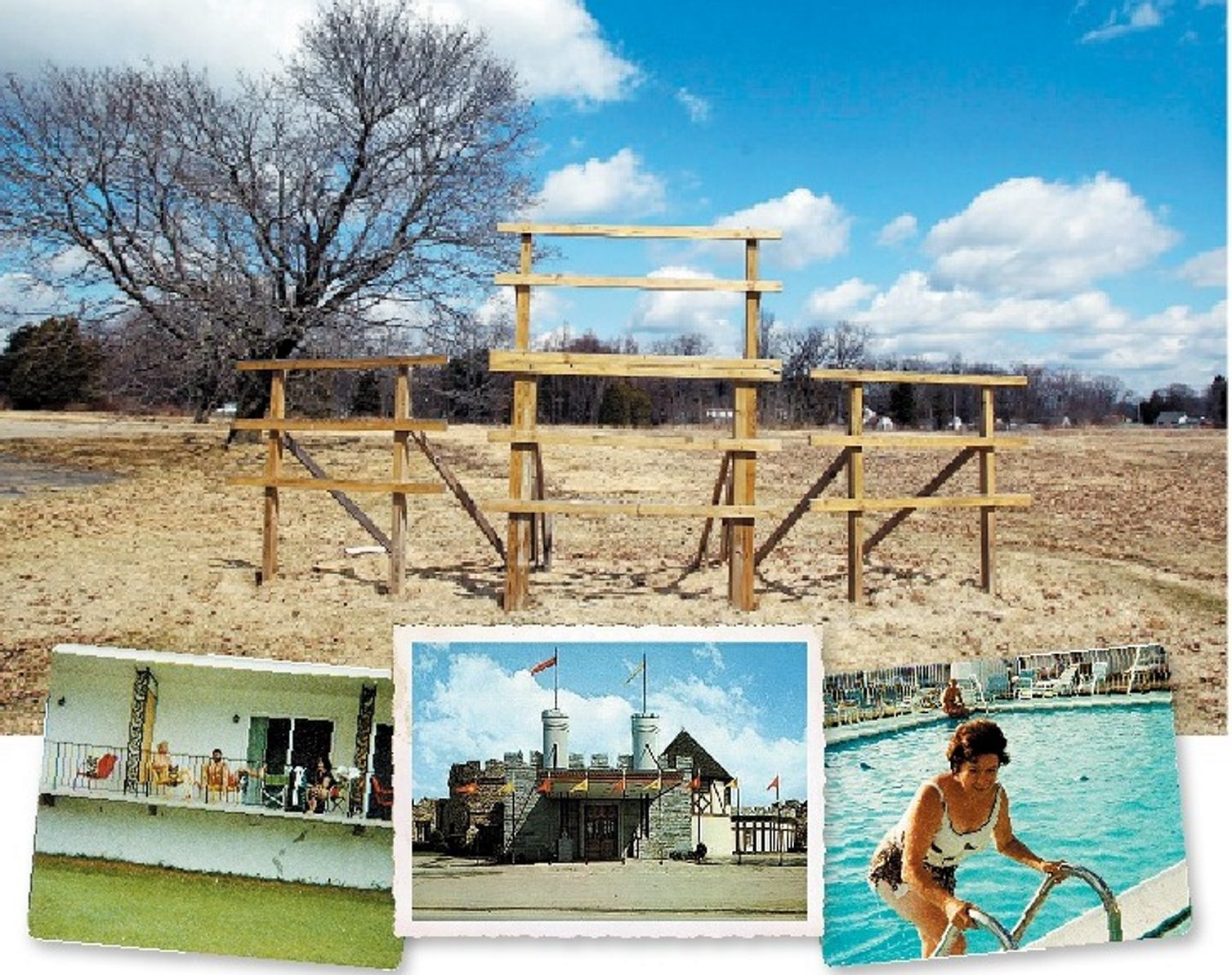 This vacant lot at one time was the Castle property, a motel, restaurant and resort just outside Olean. The restaurant, below center, was a fine-dining establishment that was nationally known. On either side are snapshots of the author's family in the late 1970s. Left, his grandfather, stepfather and mother relax on a balcony overlooking the golf course. Right, his grandmother gets ready to go for a swim.
