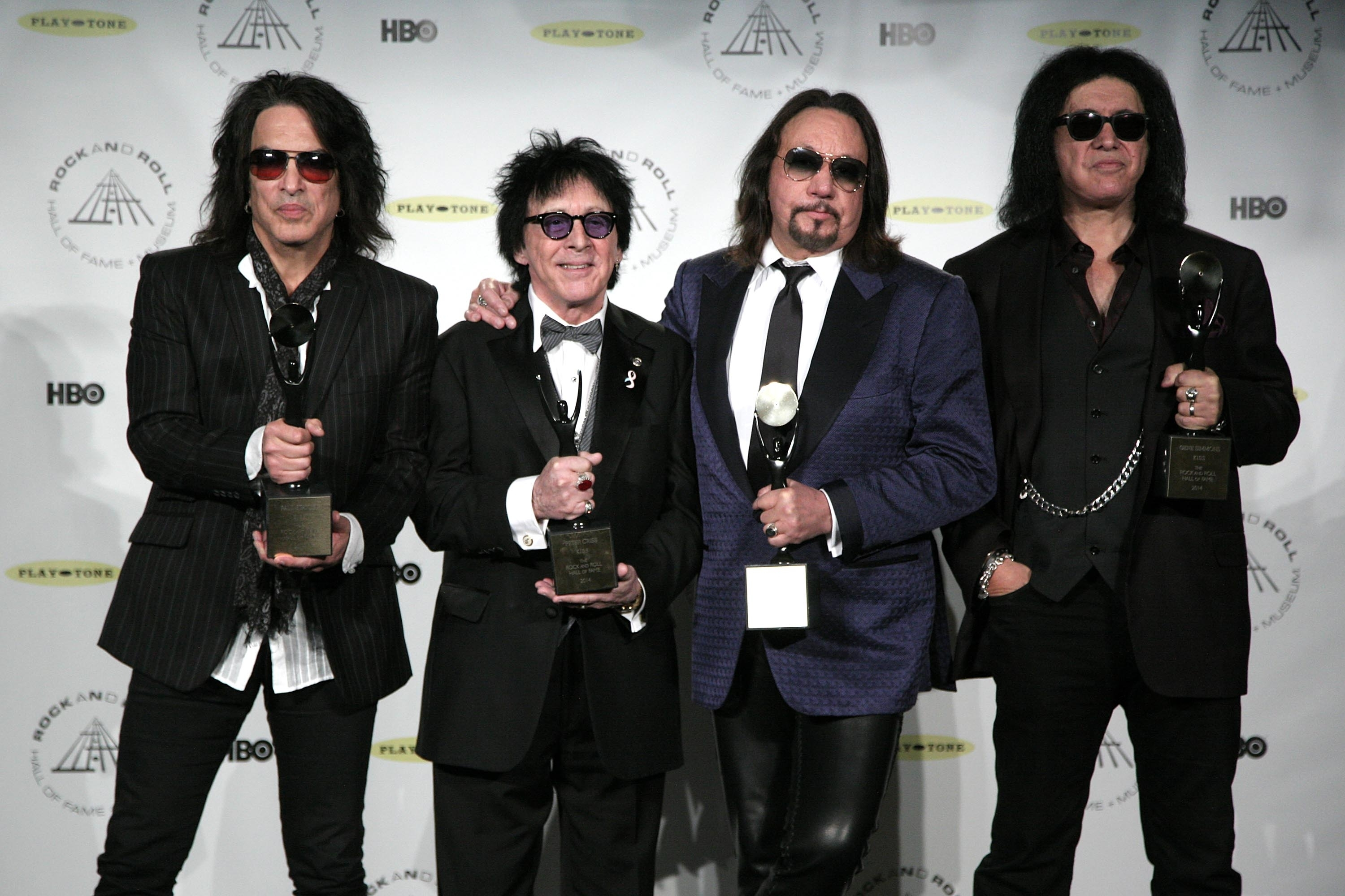 Hall of Fame Inductees Kiss original band members Paul Stanley, Peter Criss, Ace Frehley, and Gene Simmons appear in the press room at the 2014 Rock and Roll Hall of Fame Induction Ceremony on Thursday, April, 10, 2014 in New York. (Photo by Andy Kropa/Invision/AP)
