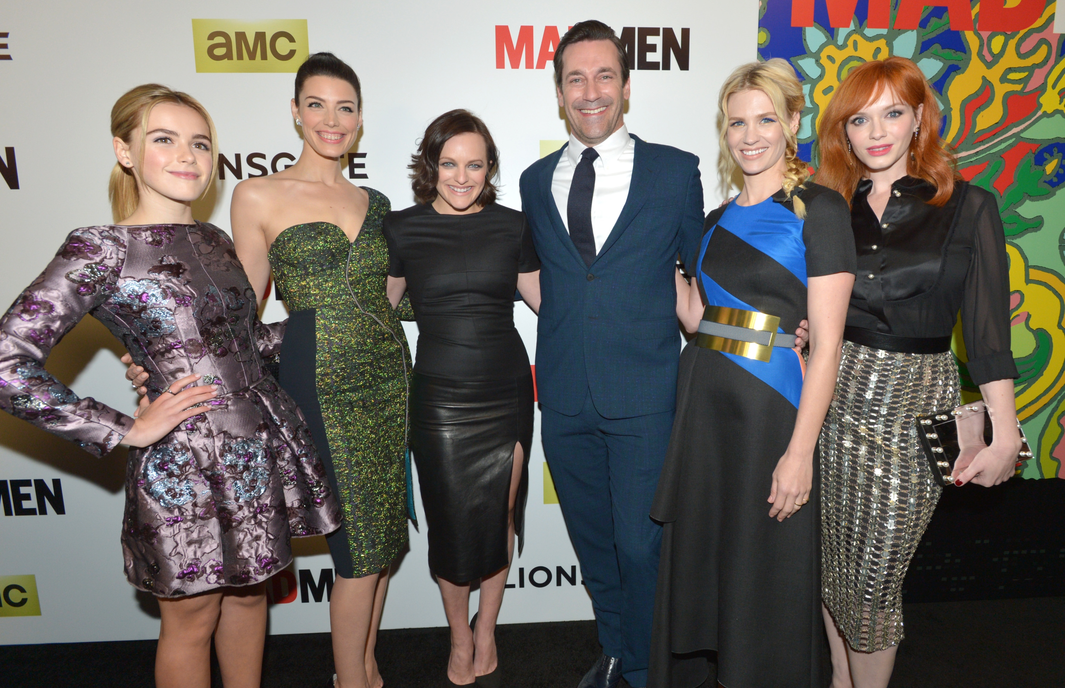 "From left, Kiernan Shipka, Jessica Paré, Elisabeth Moss, Jon Hamm, January Jones and Christina Hendricks arrive at the Los Angeles premiere last week of ""Mad Men's"" final season, which airs Sunday."