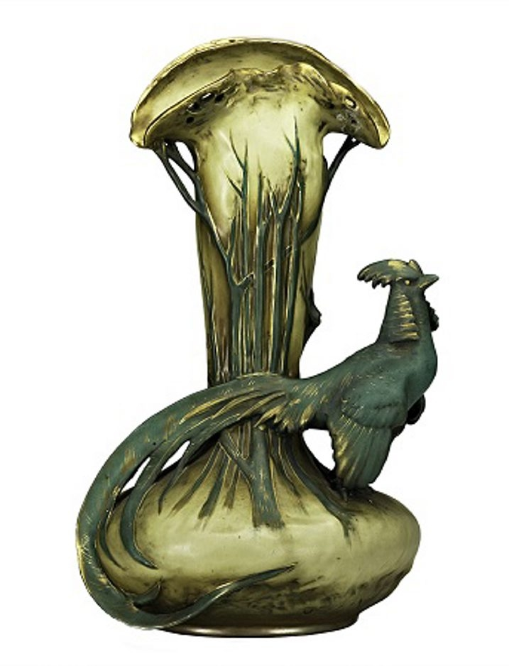 This 15-inch-high Amphora vase features a pheasant perched on a base. The vase is made to resemble a tree branch. It was offered last year at a Rago Arts auction in Vineland, N.J. Its presale estimate was $1,000 to $1,500.