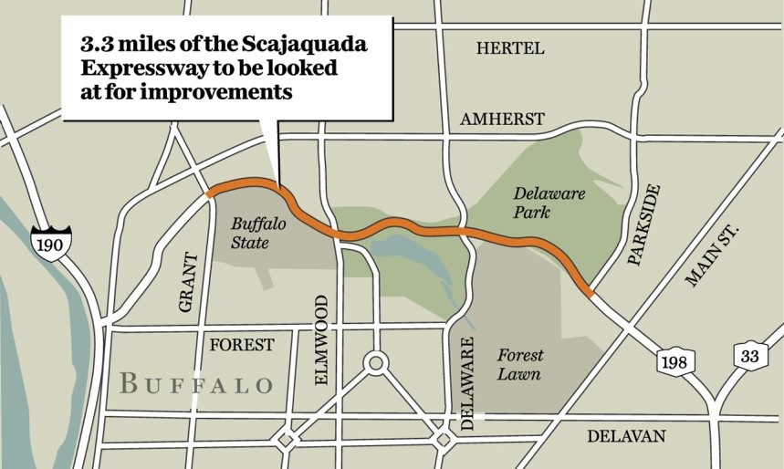 Map shows the area slated for state DOT improvements.