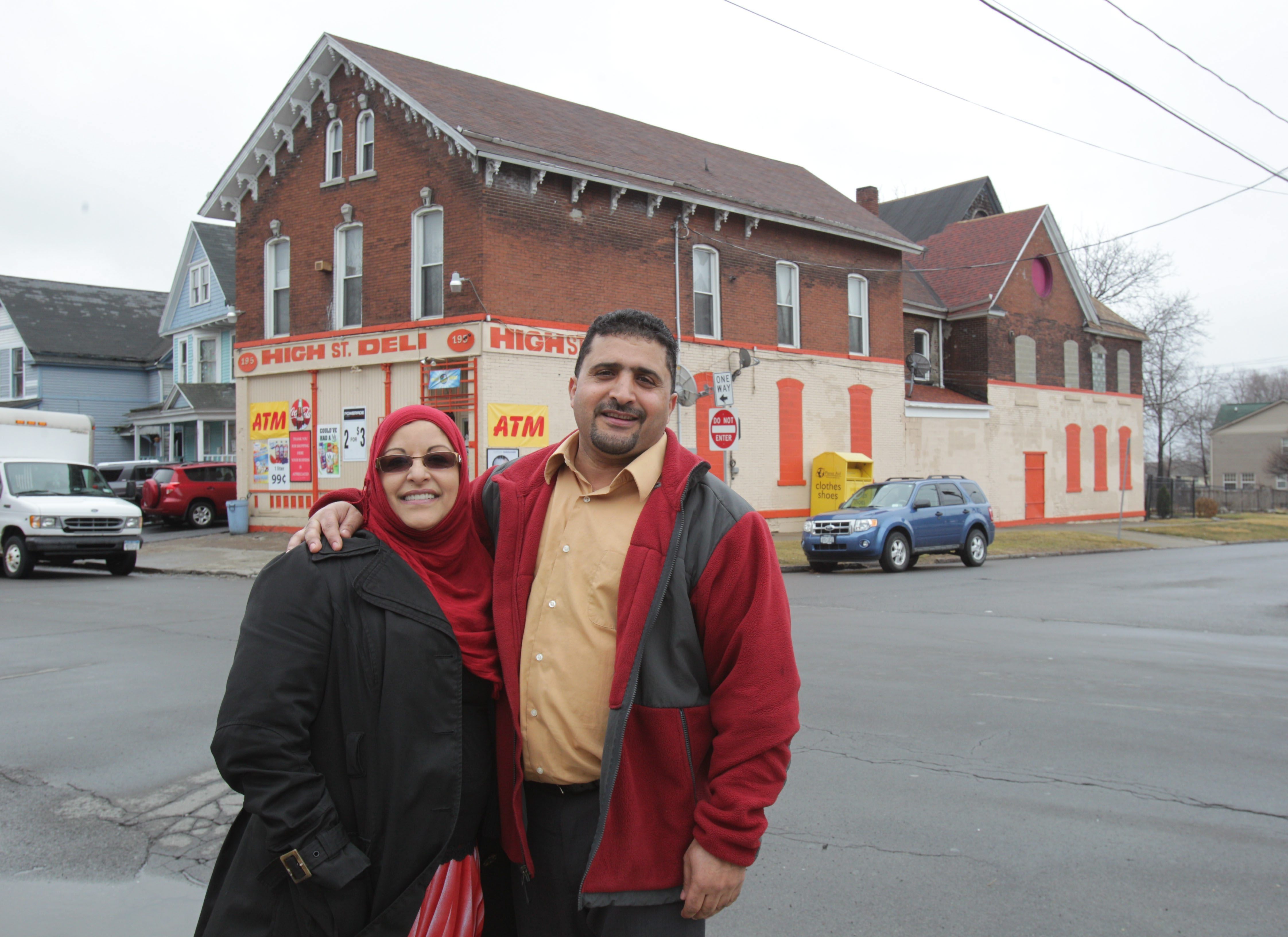 """Leemah, left, and Shoaib Kaaid own the building at 195 High St. and have operated a delicatessen in the building since 1984. The Fruit Belt building is one of three targeted for a proposed """"mini historic district"""" near the burgeoning Buffalo Niagara Medical Campus."""