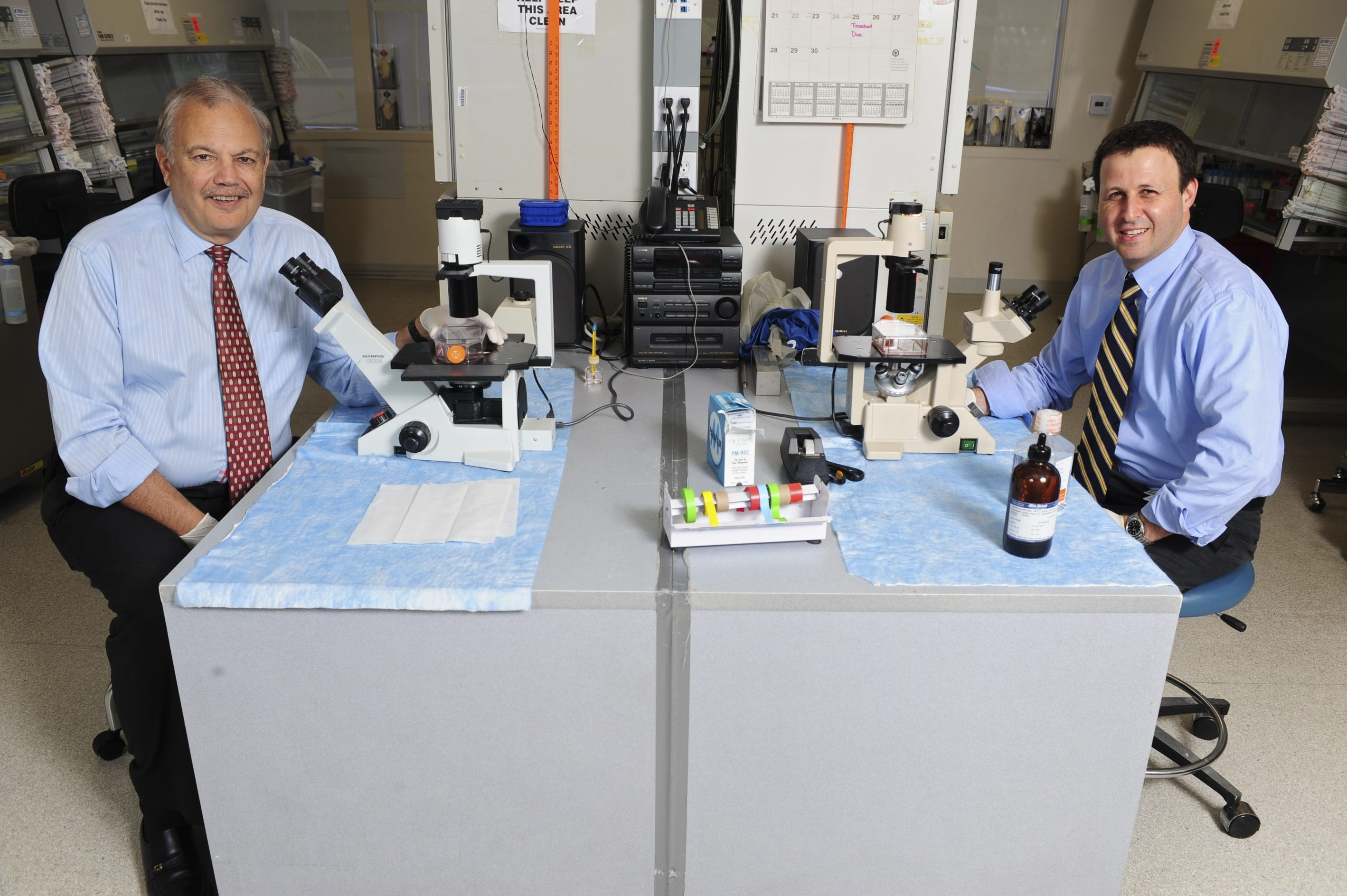 Drs. Dennis Slamon, left, and Richard Finn say that palbociclib, a drug being developed by Pfizer, sharply cut the risk that advanced cancer would worsen among patients in a Phase 2 study.