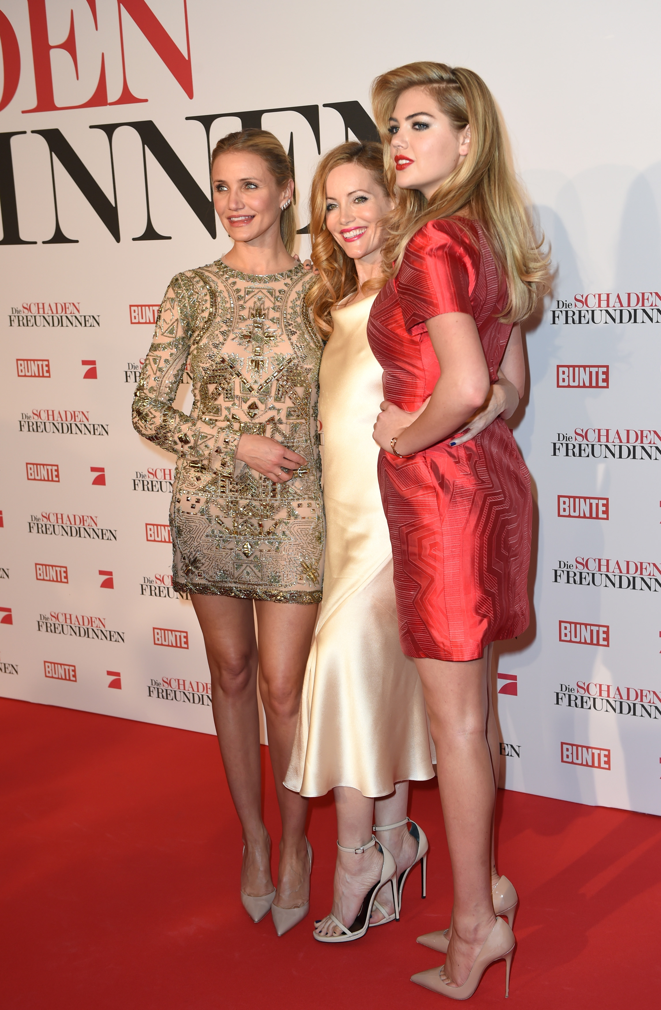 """Other women: Cameron Diaz, left, Leslie Mann and Kate Upton were in Munich, Germany Monday for the German premiere of their film """"The Other Woman."""""""