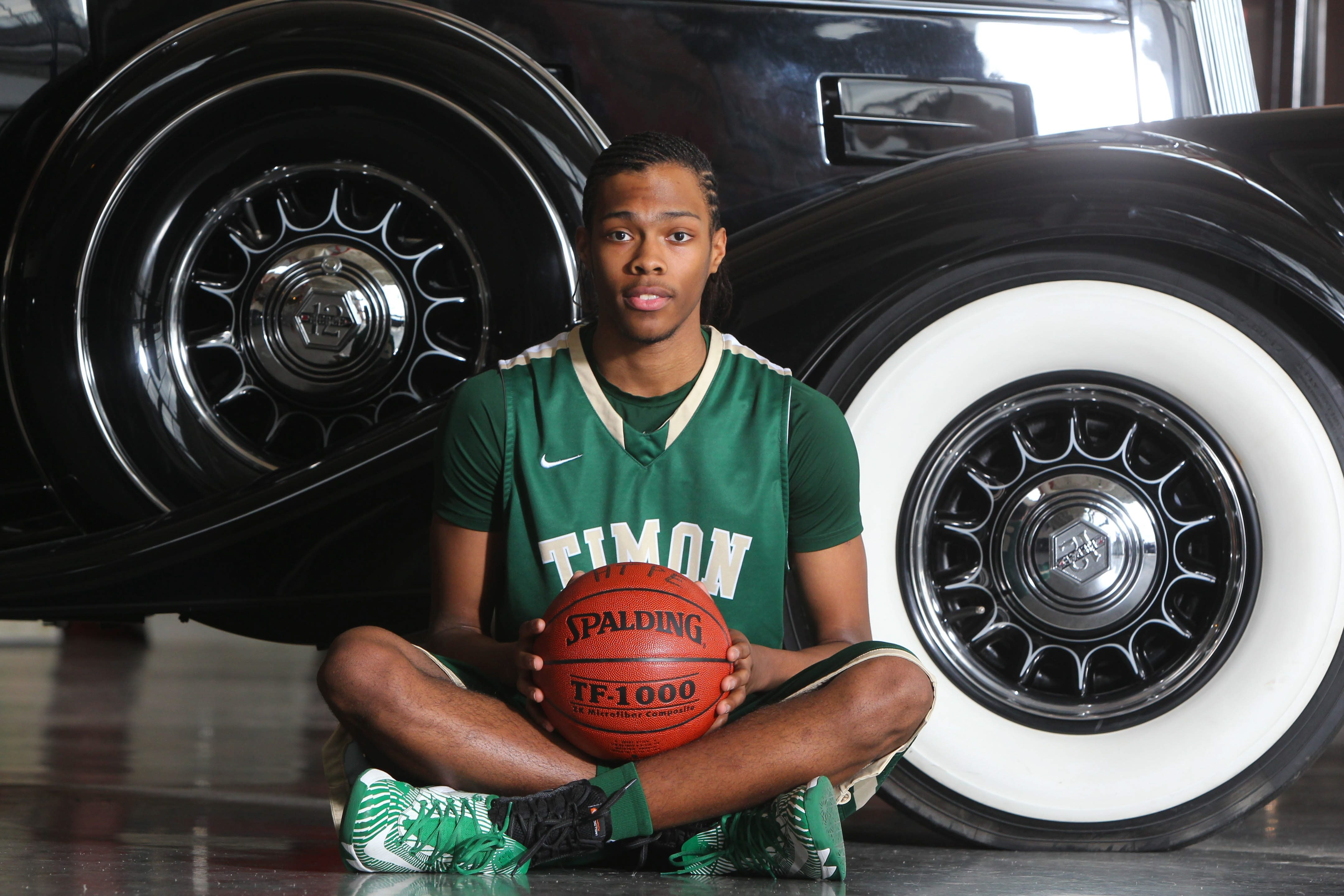 Timon-St. Jude senior Donte Williams of the All WNY Basketball team taken at the Pierce Arrow Museum in Buffalo Tuesday April 1, 2014.  (Mark Mulville/Buffalo News)