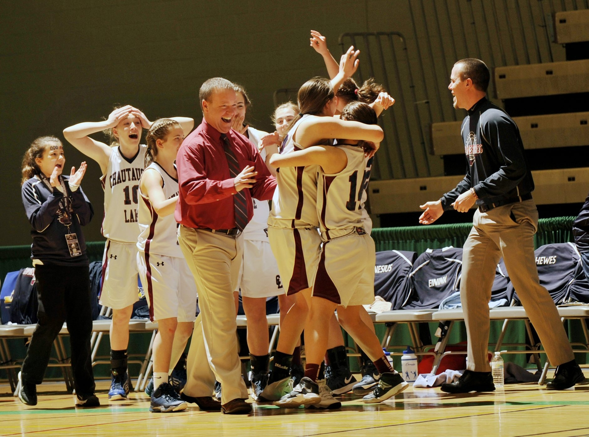Chautauqua Lake players celebrated their 47-36 win against Hoosic Valley in the New York State Public High School Athletic Association girls Class C championship game on March 16.