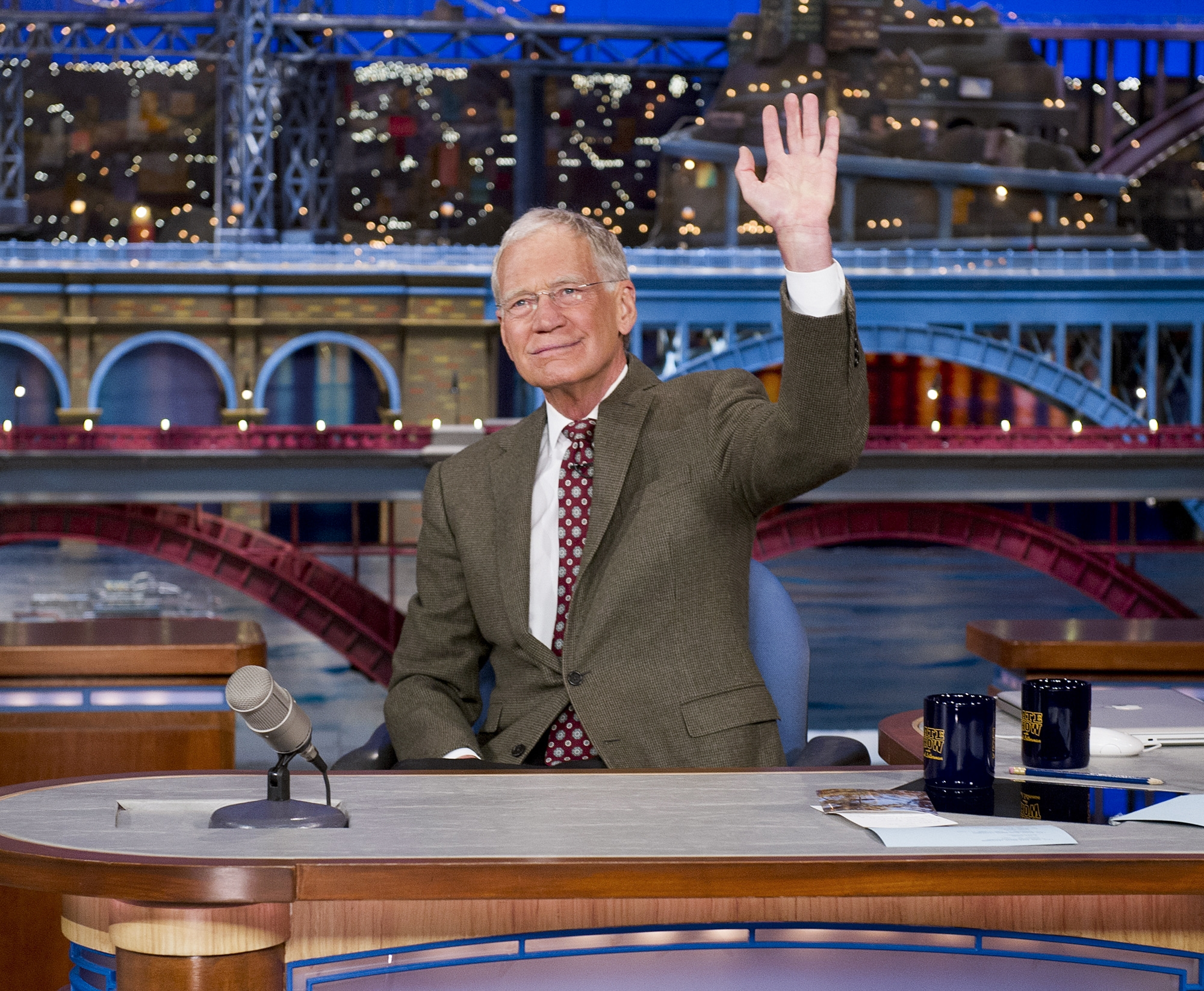 """David Letterman waves to his audience after announcing that he intends to retire in 2015, in New York, April 3, 2014. Letterman, the longest-running host in the history of American late-night television, thanked his staff and viewers for supporting """"The Late Show with David Letterman"""" and said the exact timetable of his farewell was yet to be hammered out. (Jeffrey Neira/CBS via The New York Times) — NO SALES; FOR EDITORIAL USE ONLY WITH STORY SLUGGED TV-LETTERMAN-RETIRE. ALL OTHER USE PROHIBITED."""