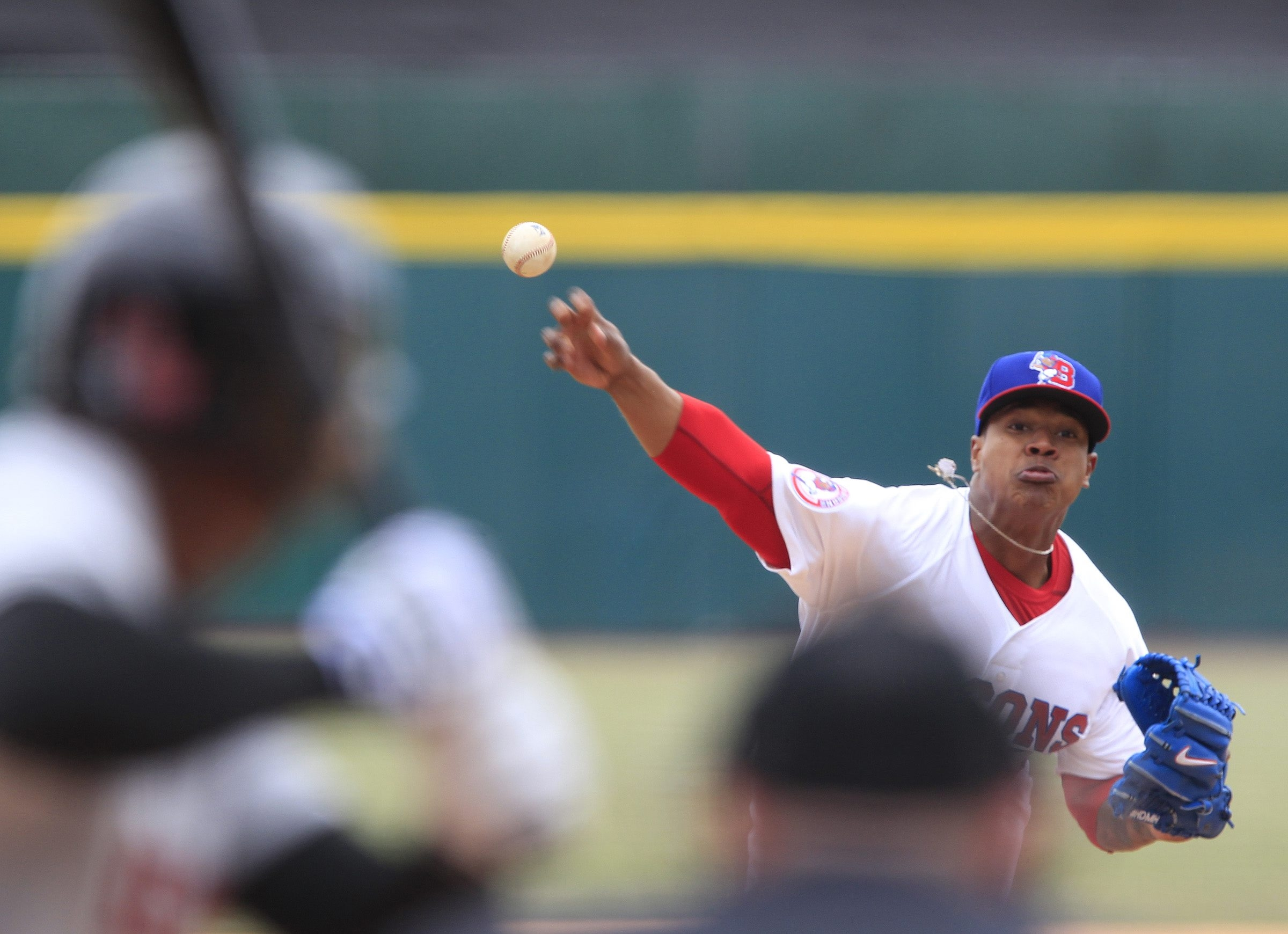 Buffalo Bison pitcher Marcus Stroman delivers a first inning pitch against the Rochester Red Wings during opening day at Coca-Cola Field on, Thursday, April 3, 2014.  {Photo by Harry Scull Jr. / Buffalo News}