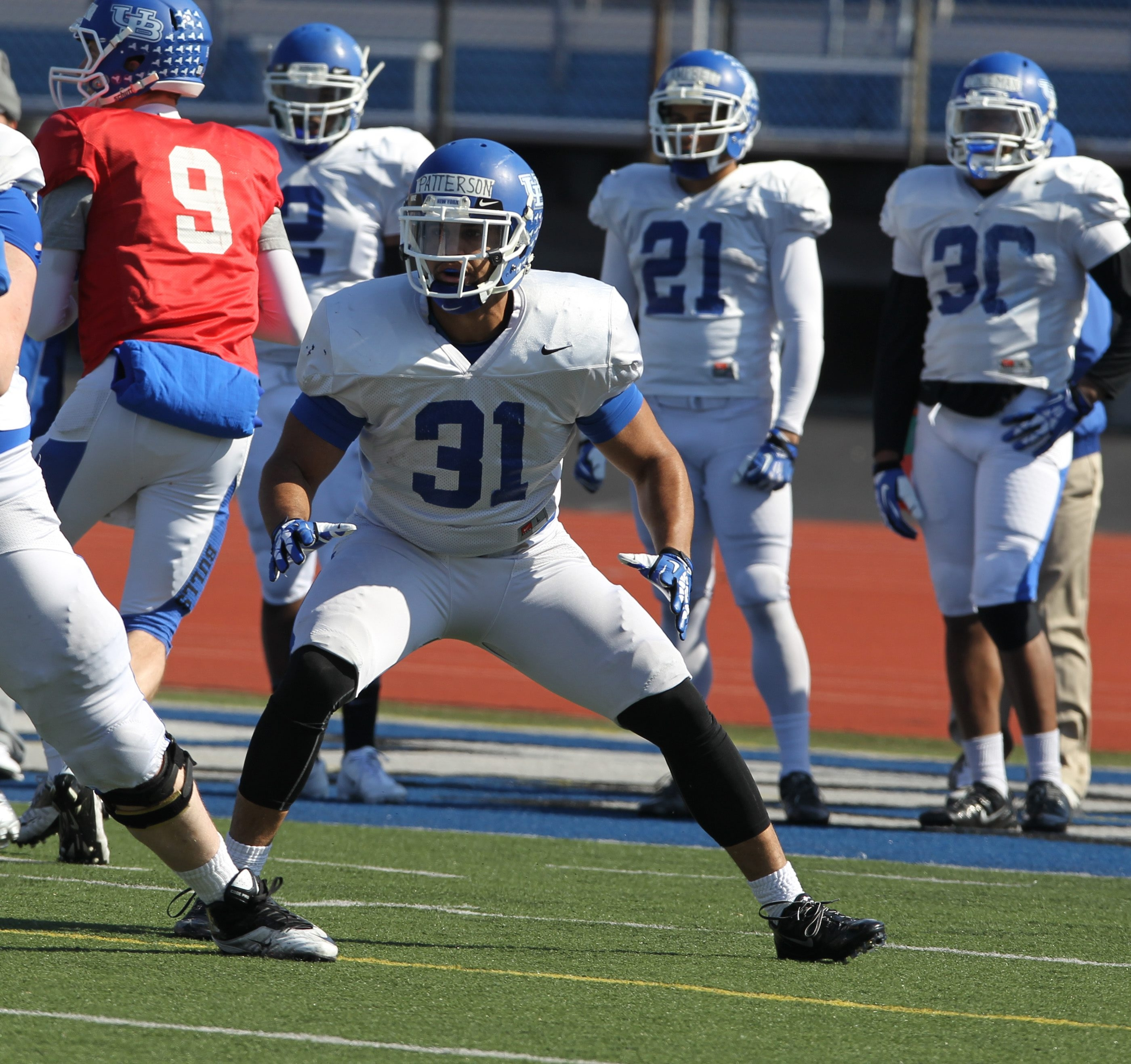 UB's Kendall Patterson, recruited as a nose tackle, is finding his way after switching to fullback.