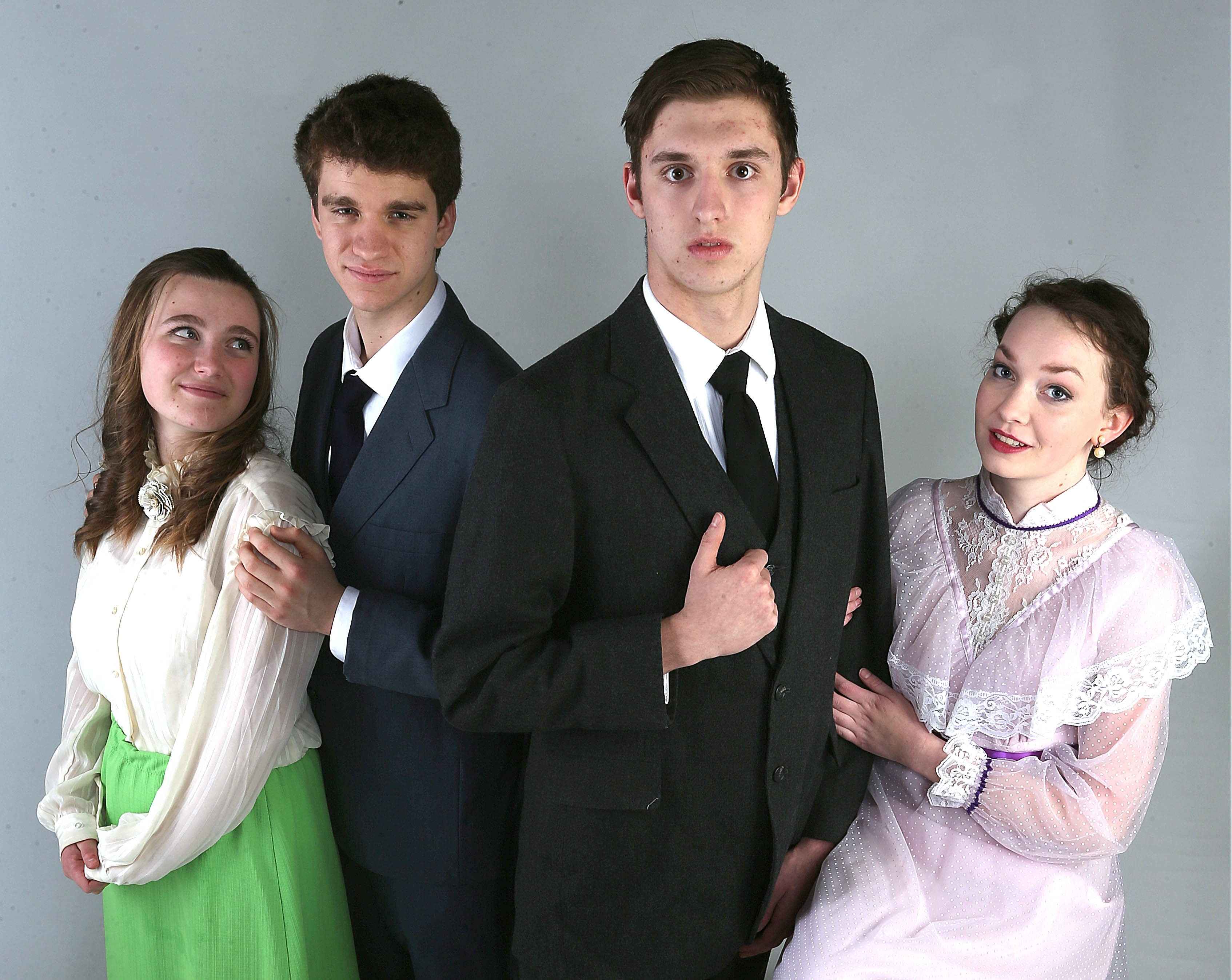 From left, Jordan Brown as Cecily Cardew, Brandon Mecklenburg as Algeron Moncrieff, T.J. Barnes as Jack Worthing and Corrinne (cq) Greene as Gwendolen (cq) Fairfax, Hamburg HS production cast members inThe Importance of Being Earnest.  They were  in our studio on Wednesday, March 26, 2014.  (Robert Kirkham/Buffalo News)