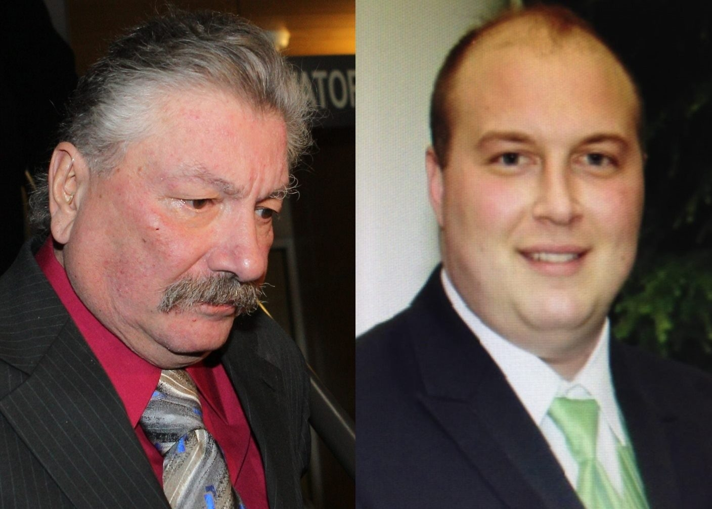 Robert J. Styn Jr., left, pleaded guilty Wednesday to two DWI charges and faces likely probation in crash that killed West Seneca Democratic Chairman Daniel S. McParlane in November.