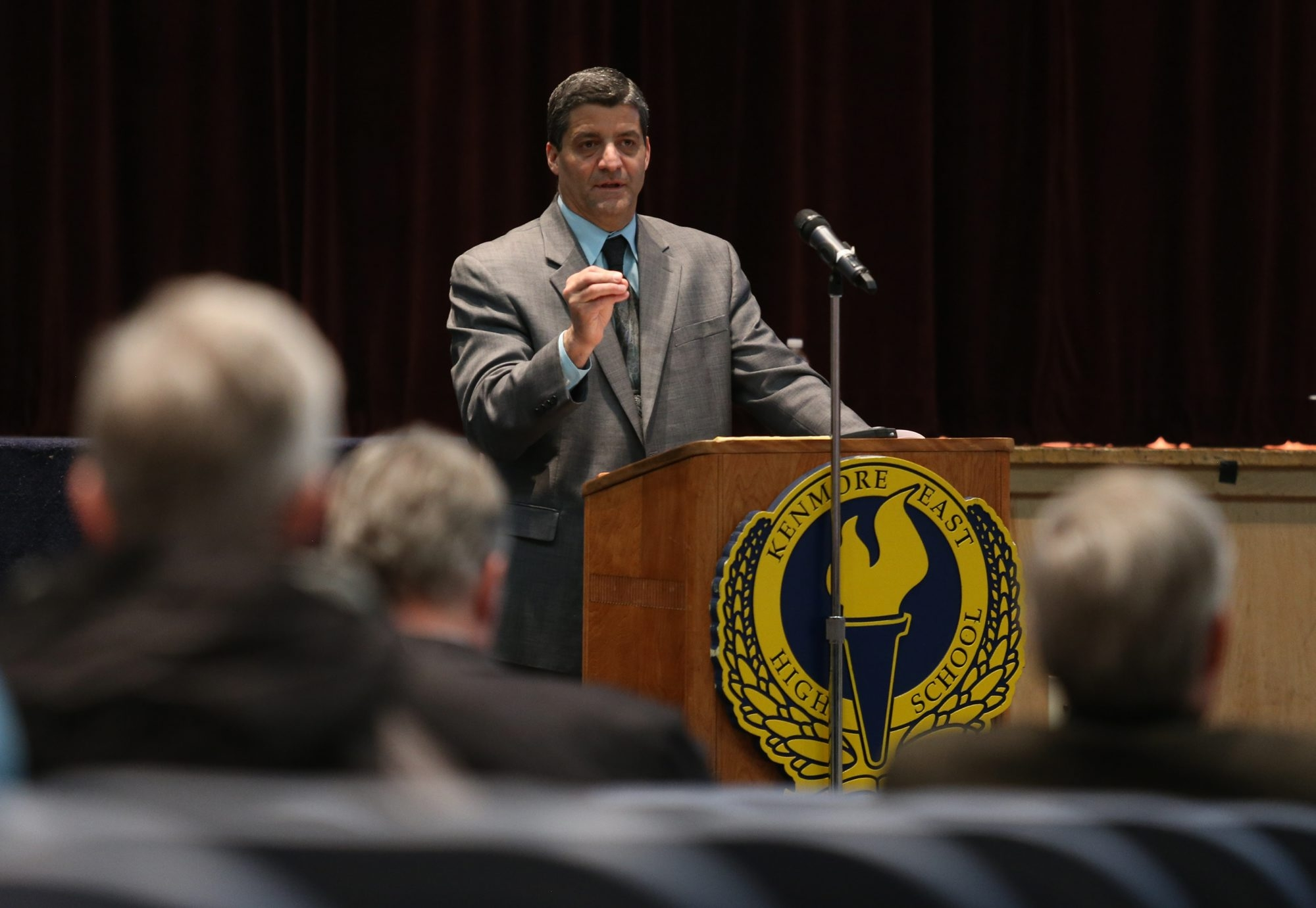 Superintendent of Schools Mark P. Mondanaro speaks during the fourth public hearing to present the findings of a Pre-K through Grade 12 reorganization study in the auditorium of Kenmore East High School in the Town of Tonawanda, Monday, March 31, 2014.  (Charles Lewis/Buffalo News)