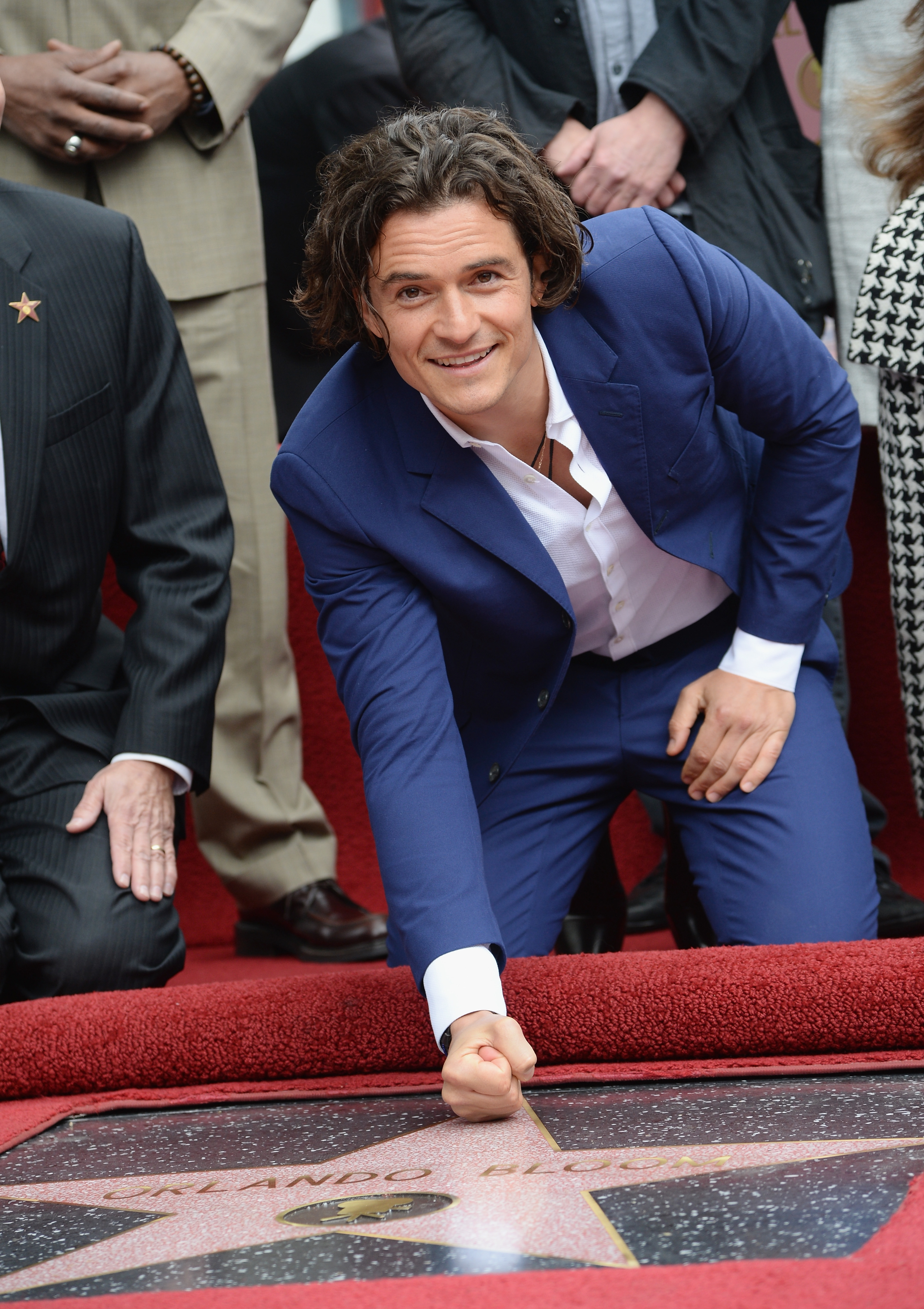 Stars in his eyes: Actor Orlando Bloom was the latest celebrity to be honored with a star on the Hollywood Walk of Fame on Wednesday.