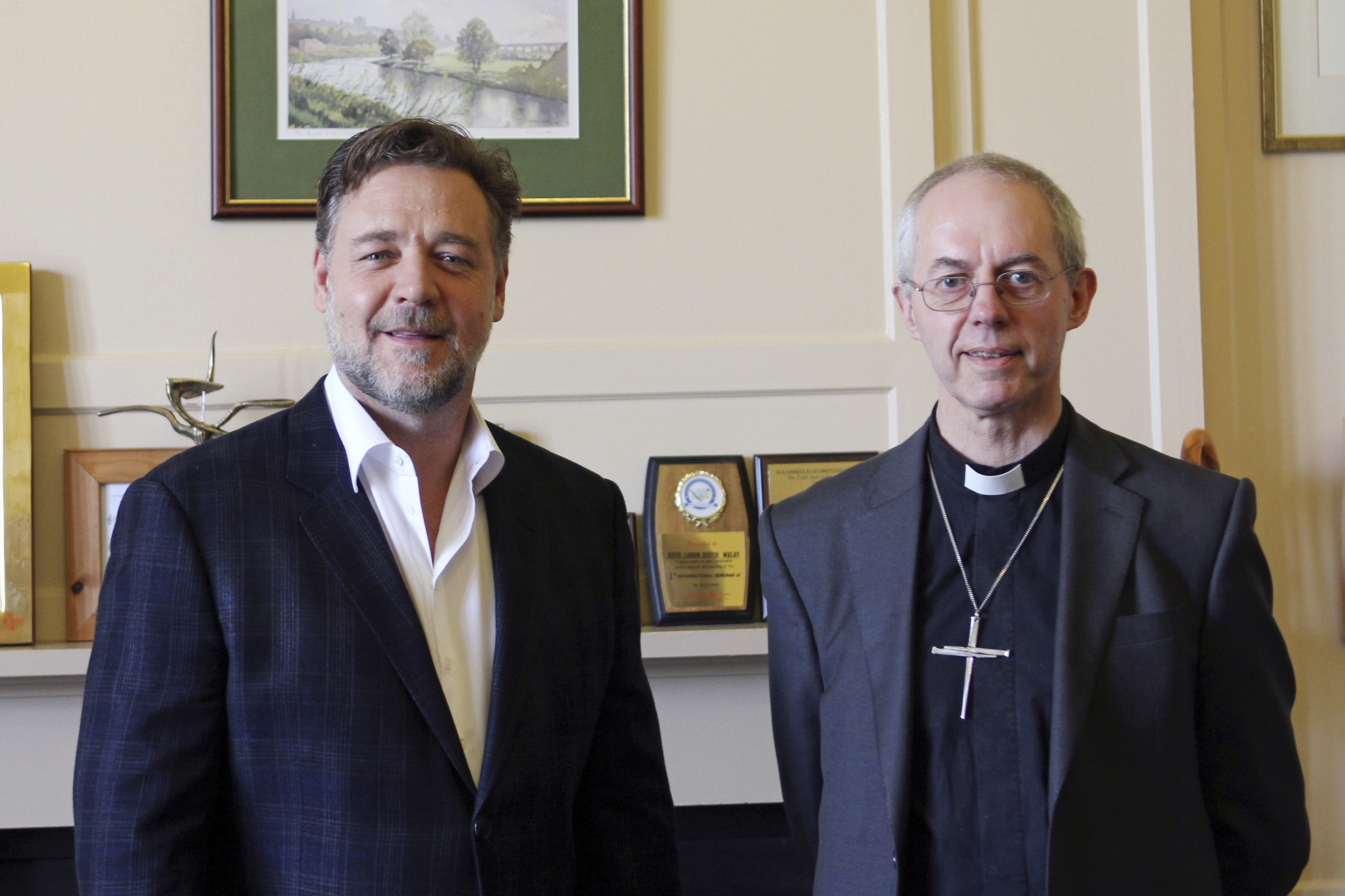 Actor Russell Crowe meets with Archbishop of Canterbury Justin Welby to discuss spirituality at Lambeth Palace in London Tuesday.