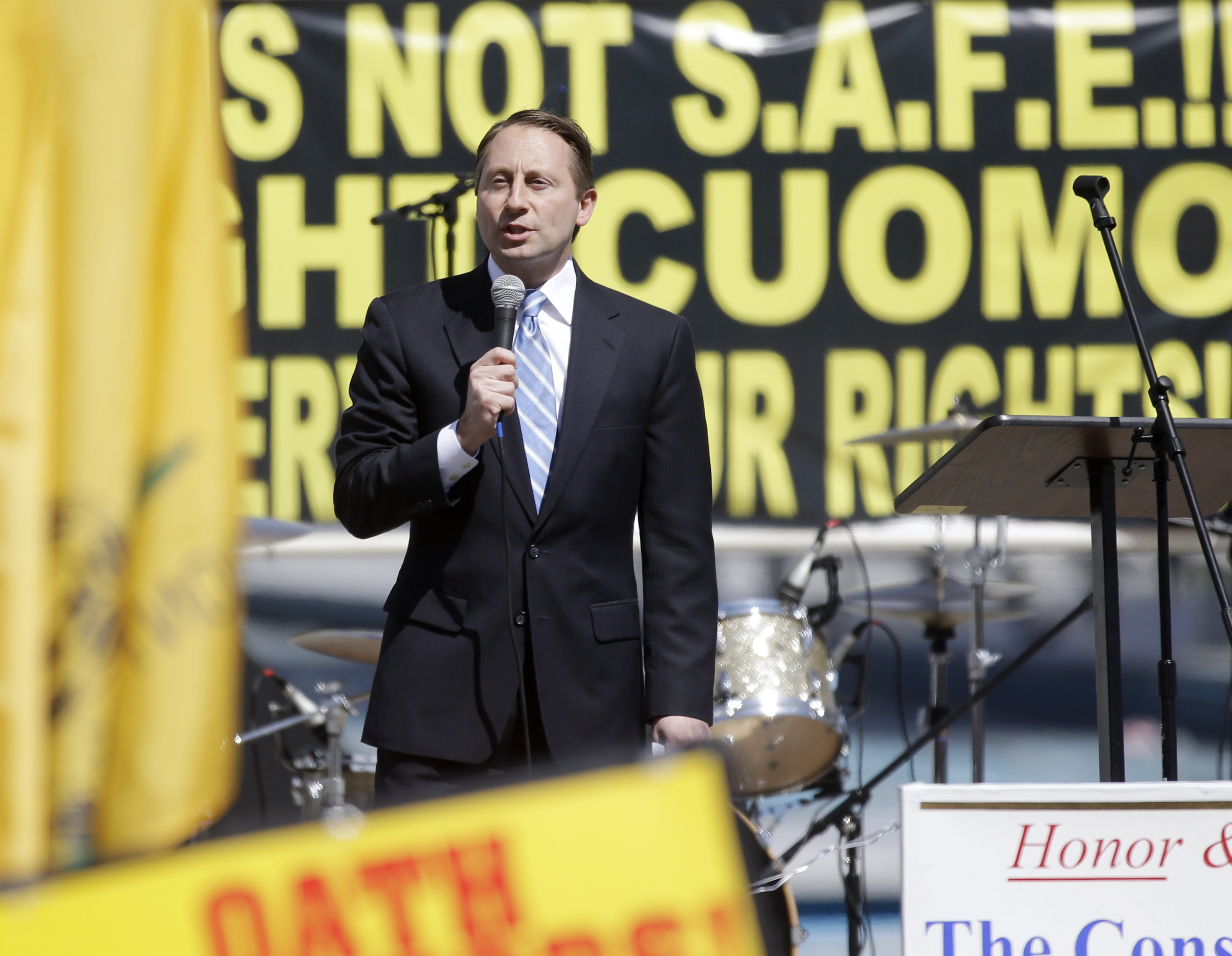 Republican gubernatorial candidate Rob Astorino speaks during a gun rights rally at the Empire State Plaza in Albany.