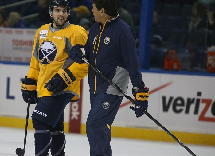 Cory Conacher, left, knows Sabres interim coach Ted Nolan wants players on the team to compete and show they're worthy of being on the team next season. Conacher also knows taking bad penalties won't help impress the coach. (Charles Lewis/Buffalo News)