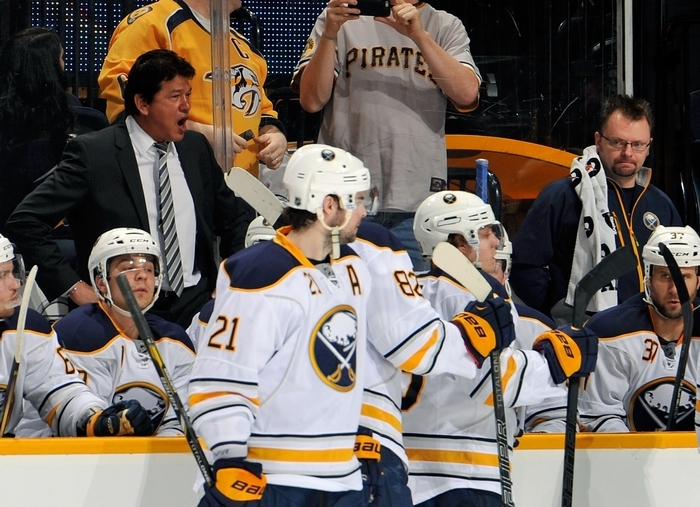 Sabres coach Ted Nolan voices his displeasure with the play of his team during the first period, when Buffalo fell behind the Predators, 4-0.  Nolan called a timeout just to vent during his team's dismal performance on Thursday night. (Getty Images)
