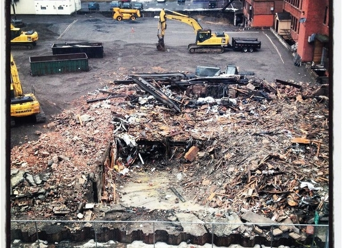 A pile of splintered wood and broken bricks was all that was left of the Buffalo United Artists Theatre last week.