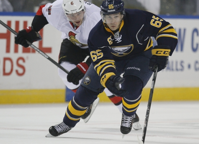 Brian Flynn, a key penalty killer,  has played wing, center and pretty much skated on lines one through four throughout the season with the Sabres.  (Mark Mulville/Buffalo News)