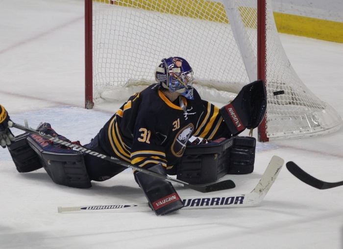 Goalie Matt Hackett was among the casualties of today's game. (Sharon Cantillon/Buffalo News file photo)