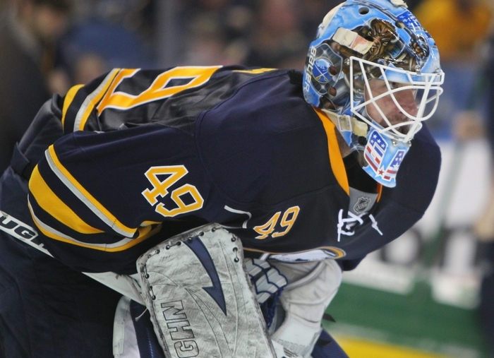 Connor Knapp, Sunday's starting goaltender for the Sabres, climbed from the ECHL and AHL within a month. (Mark Mulville/Buffalo News)