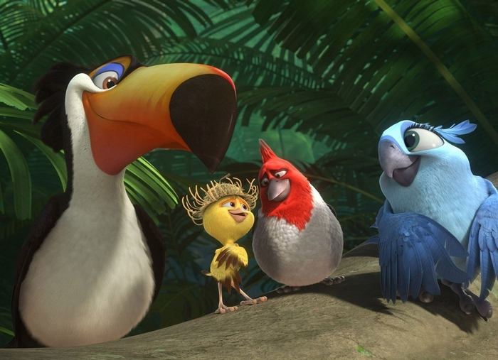 "From left, Rafeal, voiced by George Lopez, Nico, voiced by Jamie Foxx, Pedro, voiced by Will.i.am, and Carla, voiced by Rachel Crow in a scene from the animated film ""Rio 2."" (Associated Press)"