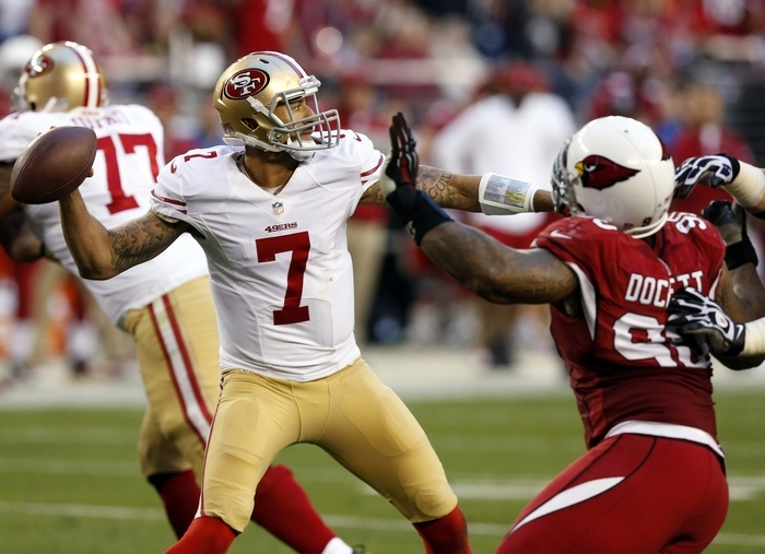 San Francisco's Colin Kaepernick (7) wasn't as impressive in his second season but still threw 21 touchdown passes. (Associated Press)