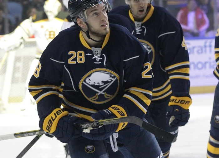 "Sabres center Zemgus Girgensons was ""shocked"" to find himself an alternate captain at age 20. (James P. McCoy/Buffalo News)"