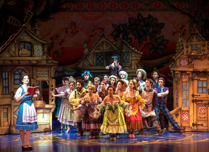 """Hilary Maiberger as Belle and the cast of Disney's """"Beauty and the Beast."""""""