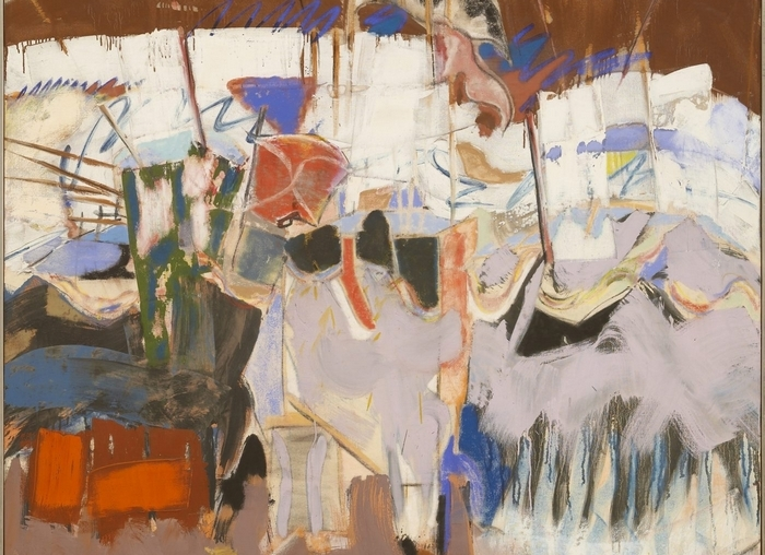 """Michael Goldberg's 1966 oil painting """"The Rout of San Romano"""" is on view in the University at Buffalo's Anderson Gallery's exhibition """"On the Road and in the Book"""" opening Saturday."""