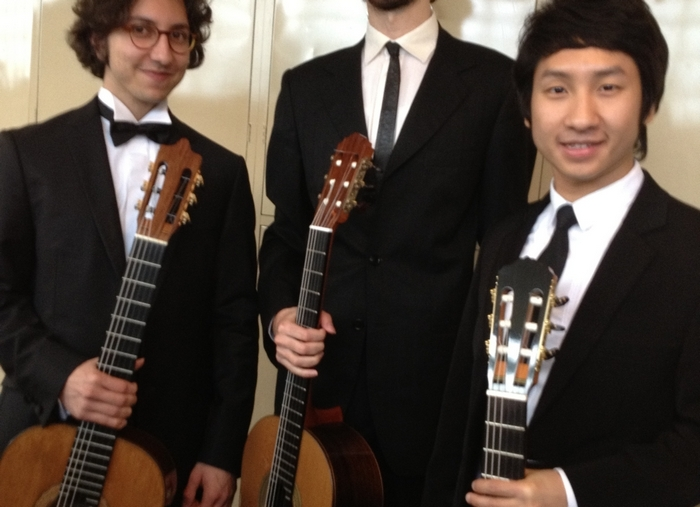 Ekachai Jearakul, right, of Thaliand will compete in the 2014 JoAnn falletta International Guitar Concerto Competition. He is pictured at the 2012 competition with fellow guitarists Celil Refik Kaya of Turkey and Petrit Ceku of Croatia. (Buffalo News file photo)