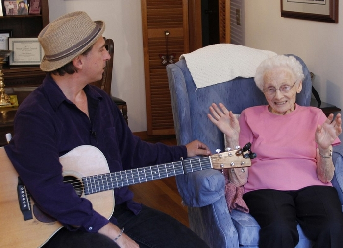 """""""Blue Tattoo"""" documents the unlikely friendship of musician Joe Crookston and Holocaust survivor Dina Jacobson. It will be shown at the Buffalo International Jewish Film Festival."""