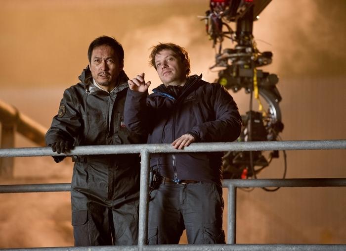 Director Gareth Edwards, right, talks with star Ken Watanabe.