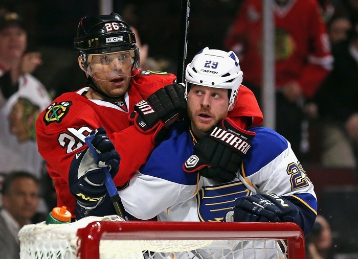 St. Louis Blues forward Steve Ott is a good fit for playoff hockey, as his team takes on the Chicago Blackhawks. (Getty Images)