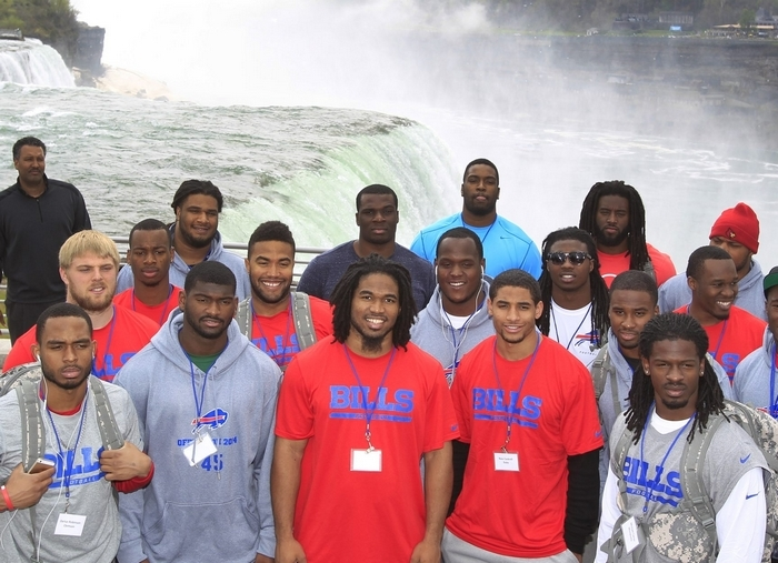 Niagara Falls was one of the stops for the Buffalo Bills rookies on their tour of Western New York Wednesday. (Harry Scull Jr./Buffalo News)
