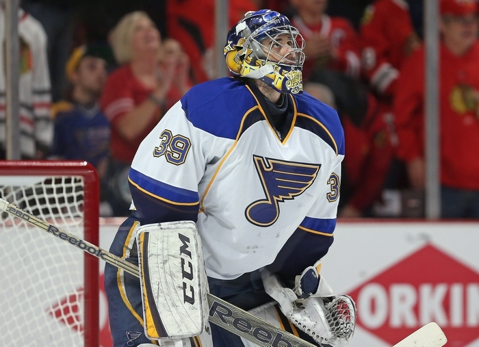 The Blues have decided to part ways with Ryan Miller, which all but finalizes the multi-player, blockbuster trade the two teams made Feb. 28. (Photo by Jonathan Daniel/Getty Images)