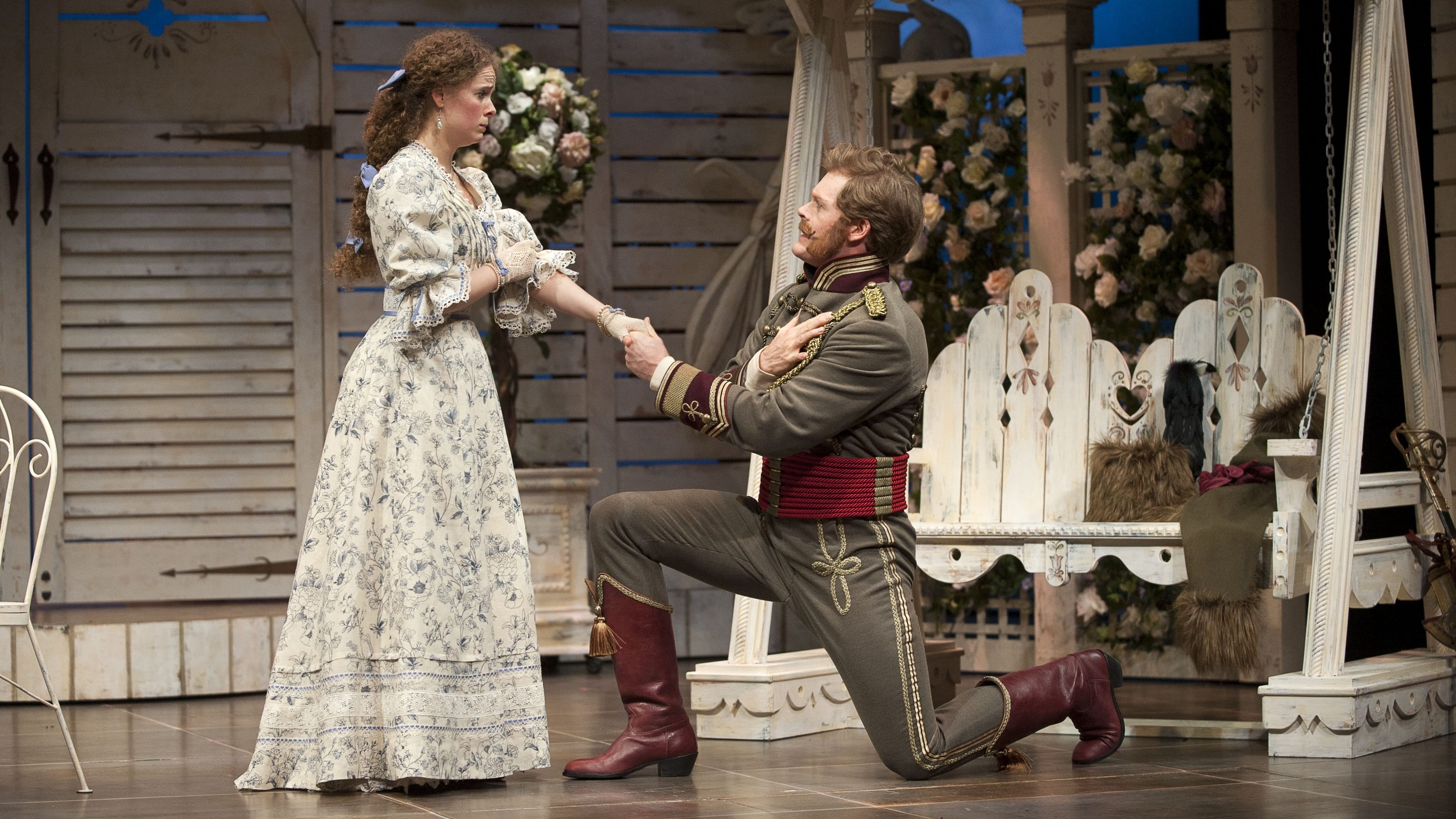 """Kate Besworth and Martin Happer star in the Shaw Festival's production of """"Arms and the Man."""""""