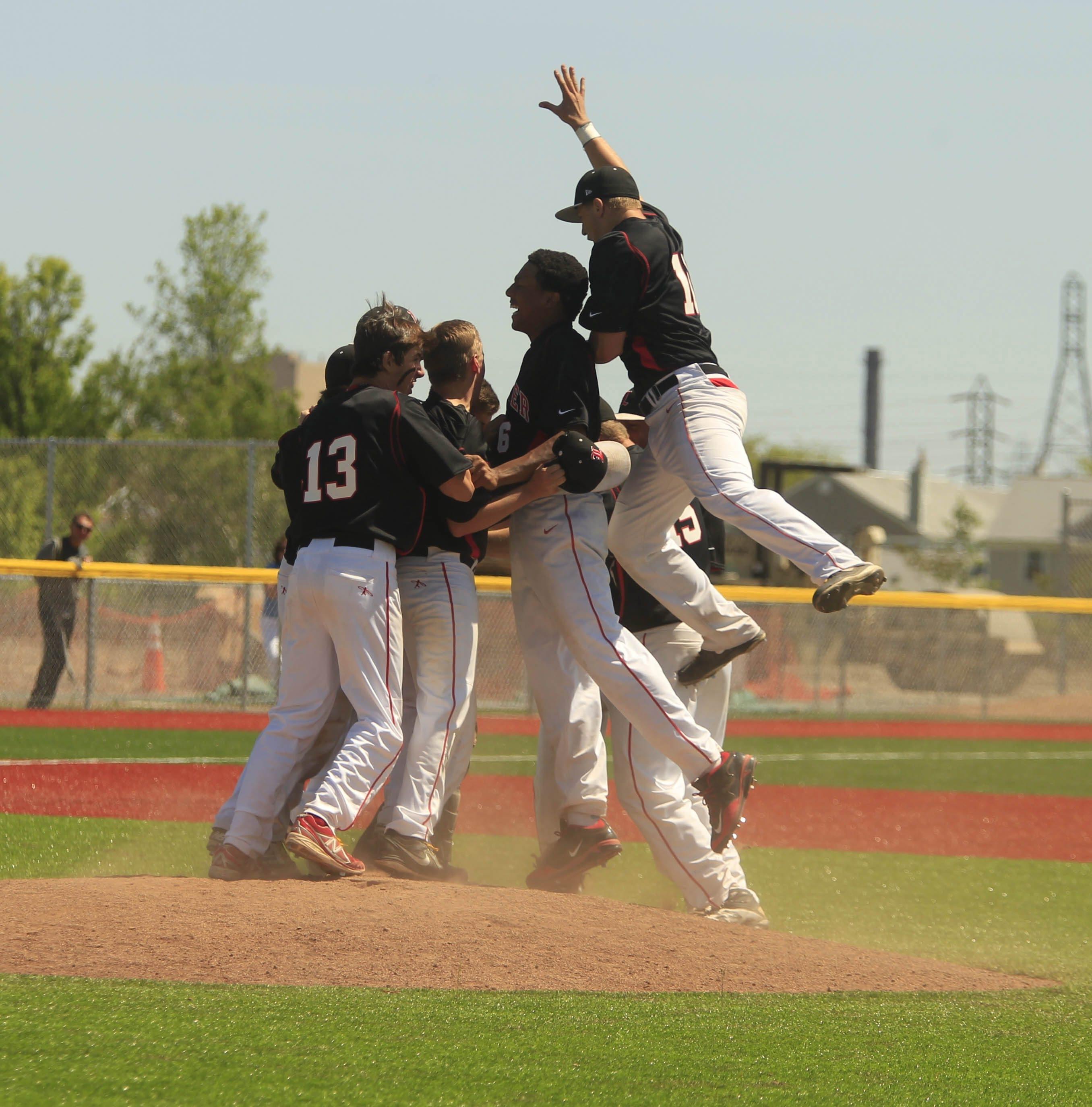 Lancaster's celebrates its 4-3 win over Orchard Park at Niagara Falls High School.