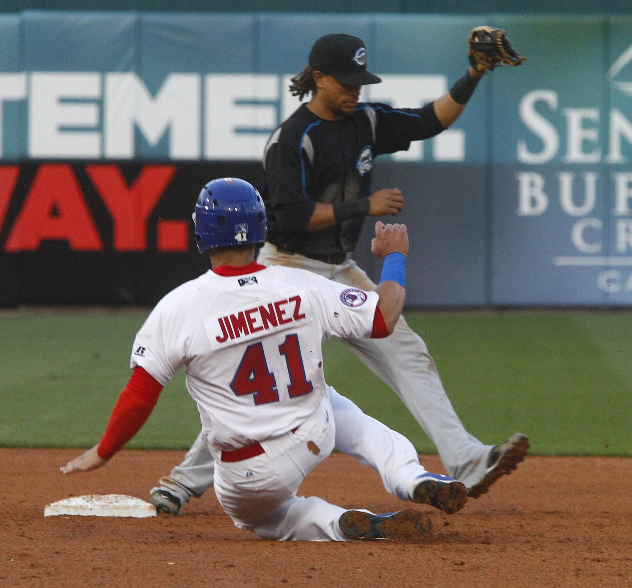 Emmanuel Burriss of Syracuse forces out Buffalo's A.J. Jimenez at second base during Friday's game at Coca-Cola Field.