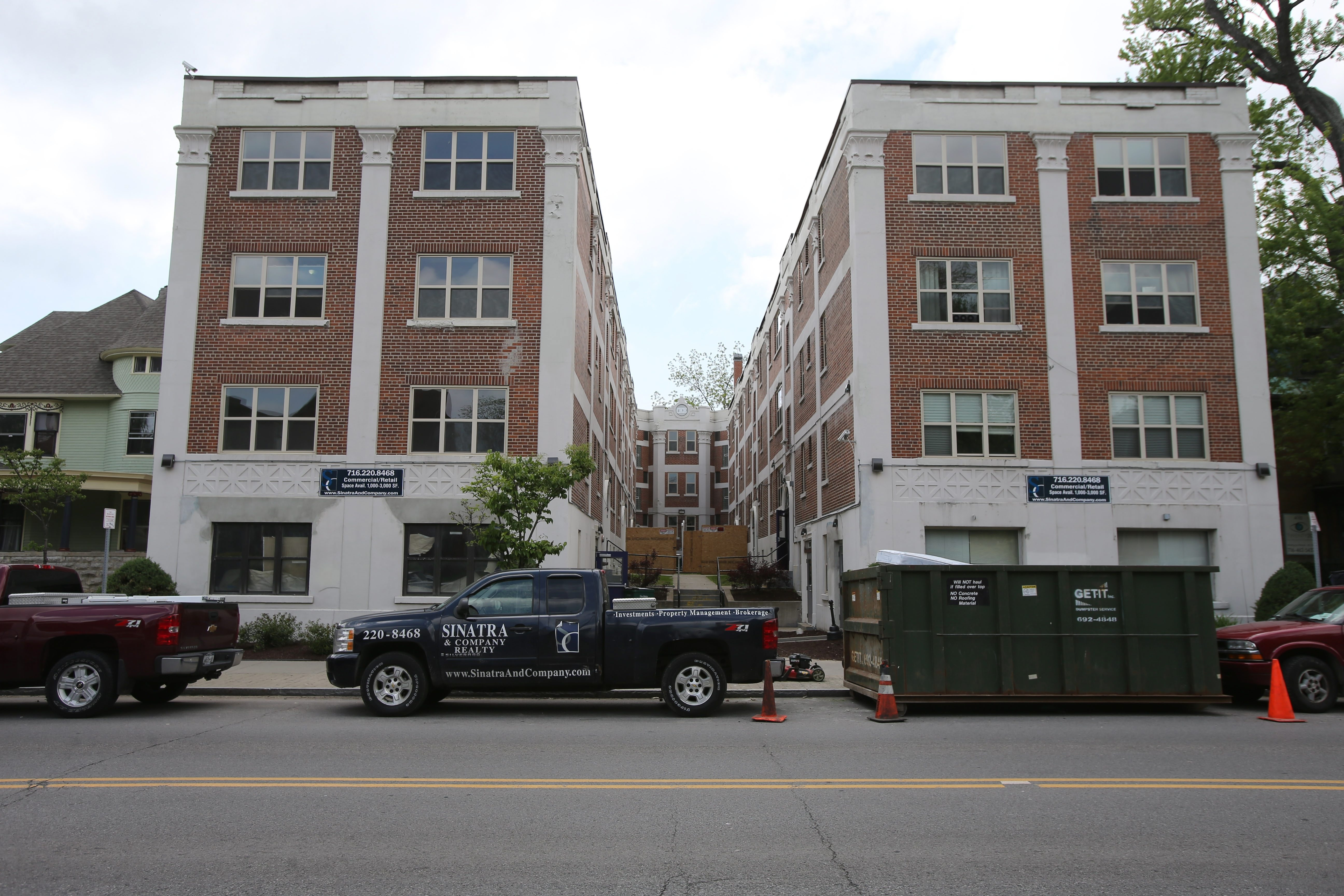 401 Delaware Ave., top, and 400 Elmwood Ave. will house more than 100 upgraded apartment units.