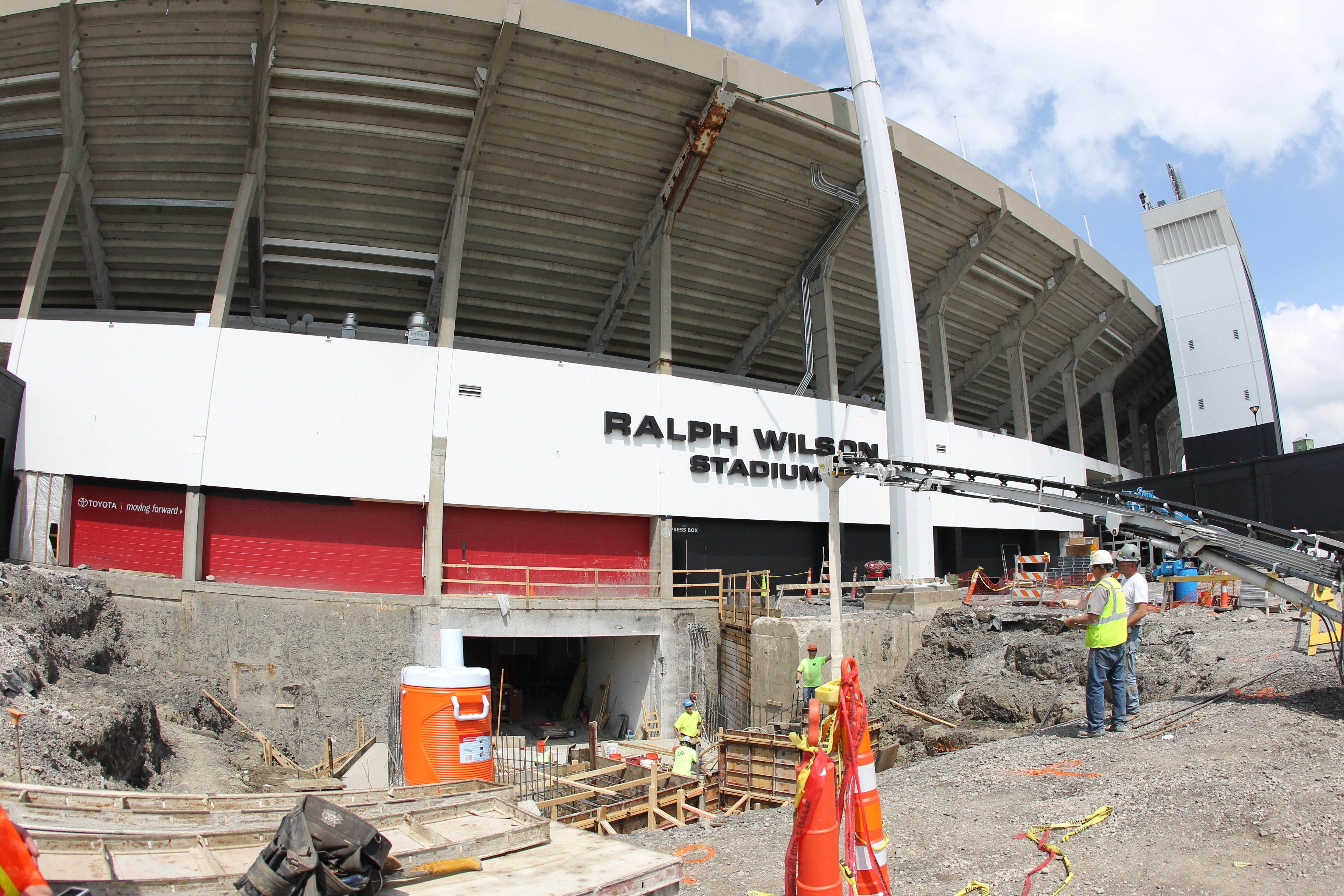 Work continues on the renovation of Ralph Wilson Stadium in Orchard Park on Thursday.  (James P. McCoy/ Buffalo News)