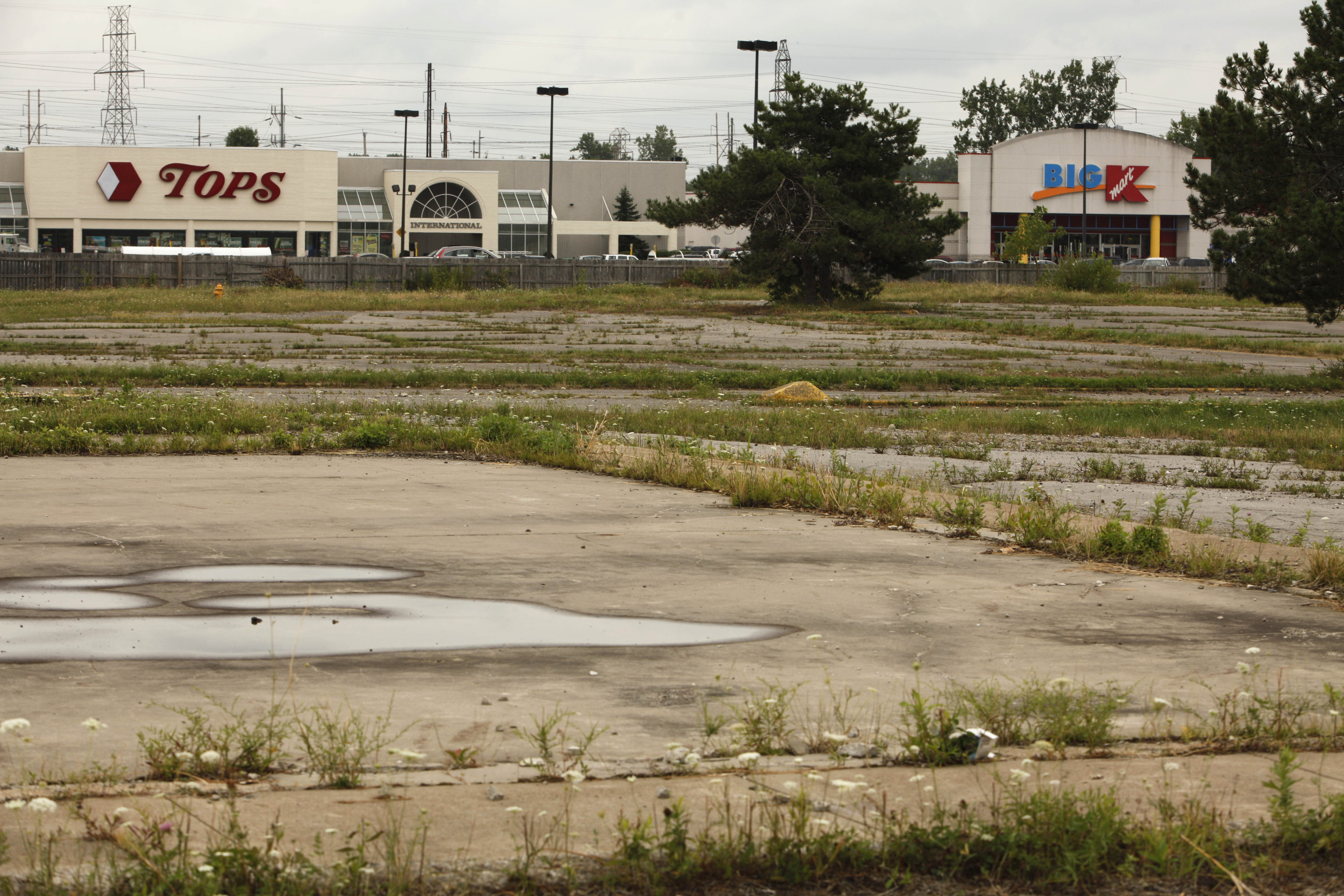 Grass is growing through the foundation of the former West Seneca Mall inside the fenced in area surrounding the stores remaining at what is now known as The Shops at West Seneca on Aug. 15, 2011.