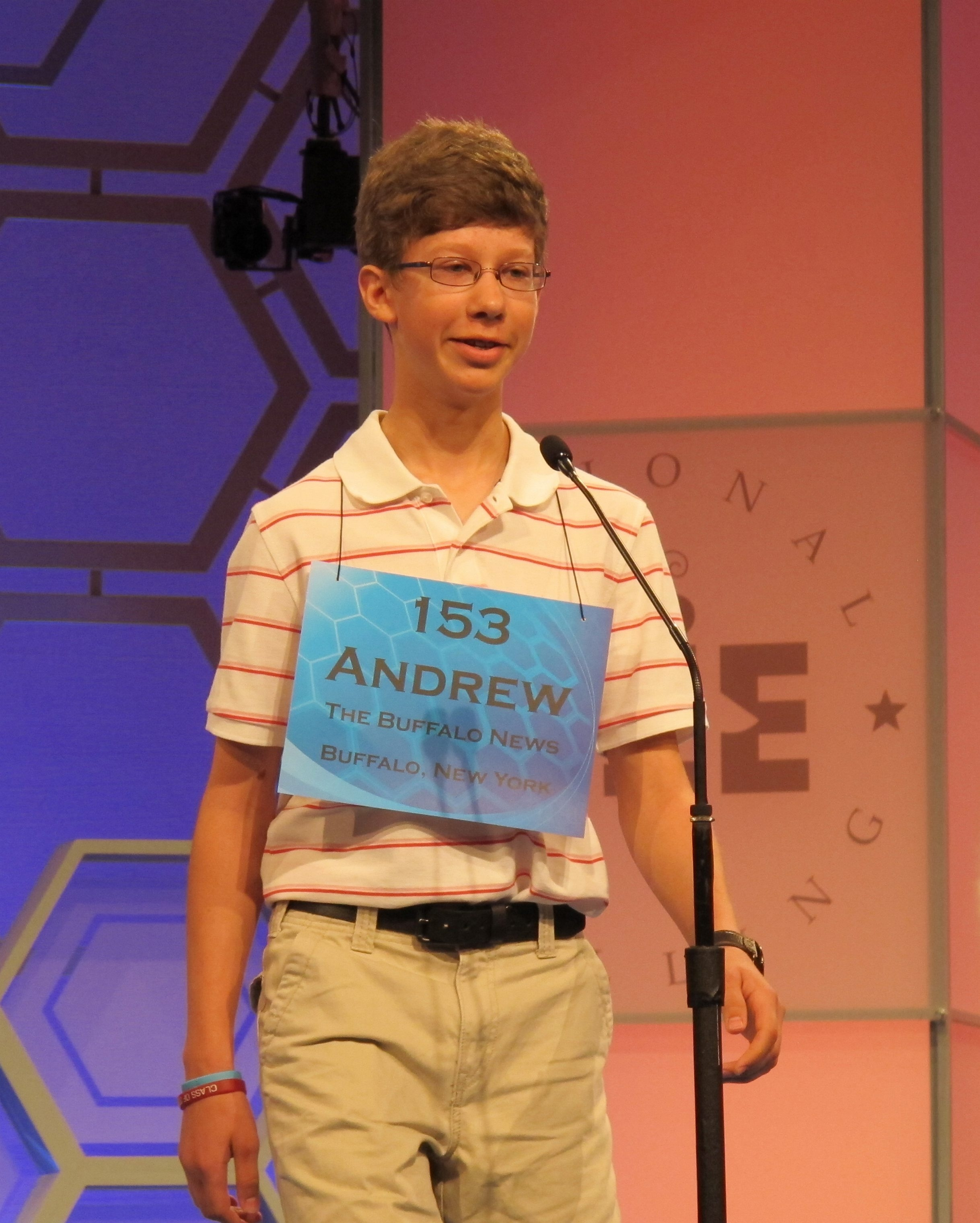"Andrew Erdman, The Buffalo News' entrant in the Scripps National Spelling Bee, correctly spells ""nenuphar"" in  Wednesday's competition."