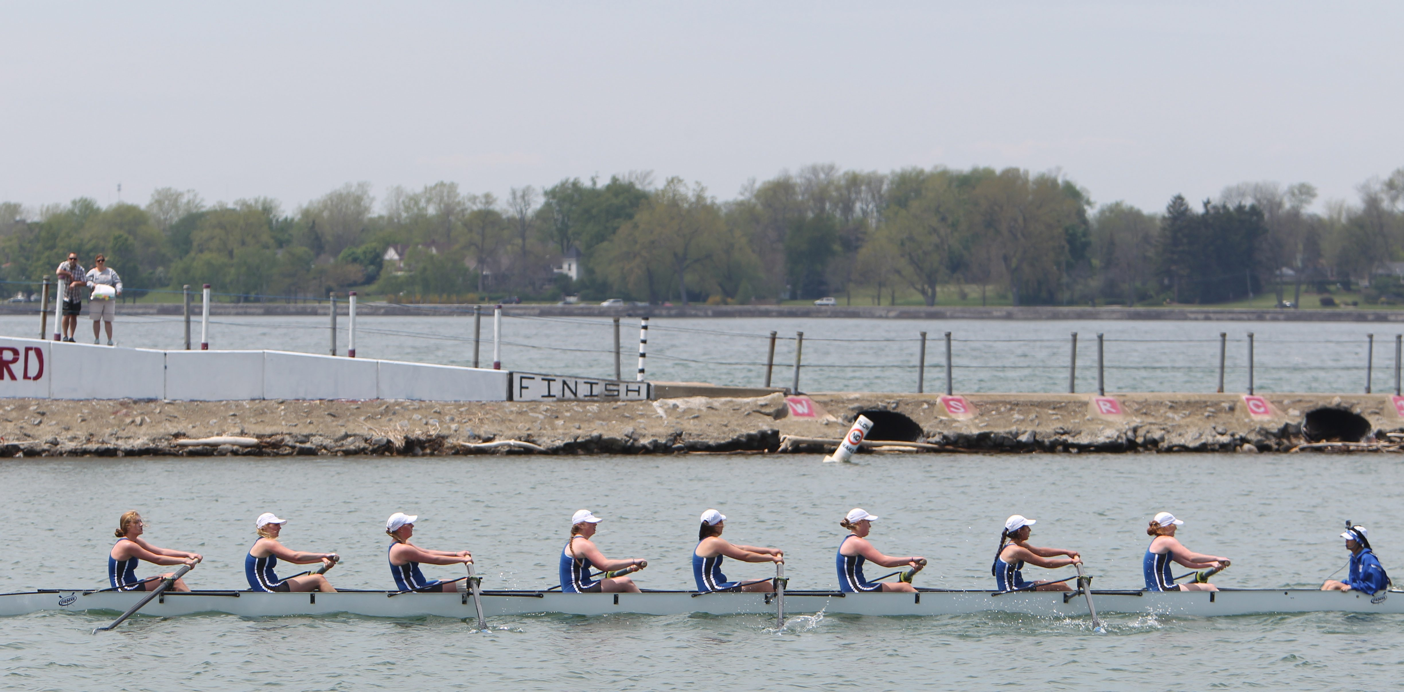 Mount St. Mary's junior eight is first to cross the finish line during the Fontana All-High Regatta at the West Side Rowing Club on Monday. Check out a photo gallery at buffalonews.com.