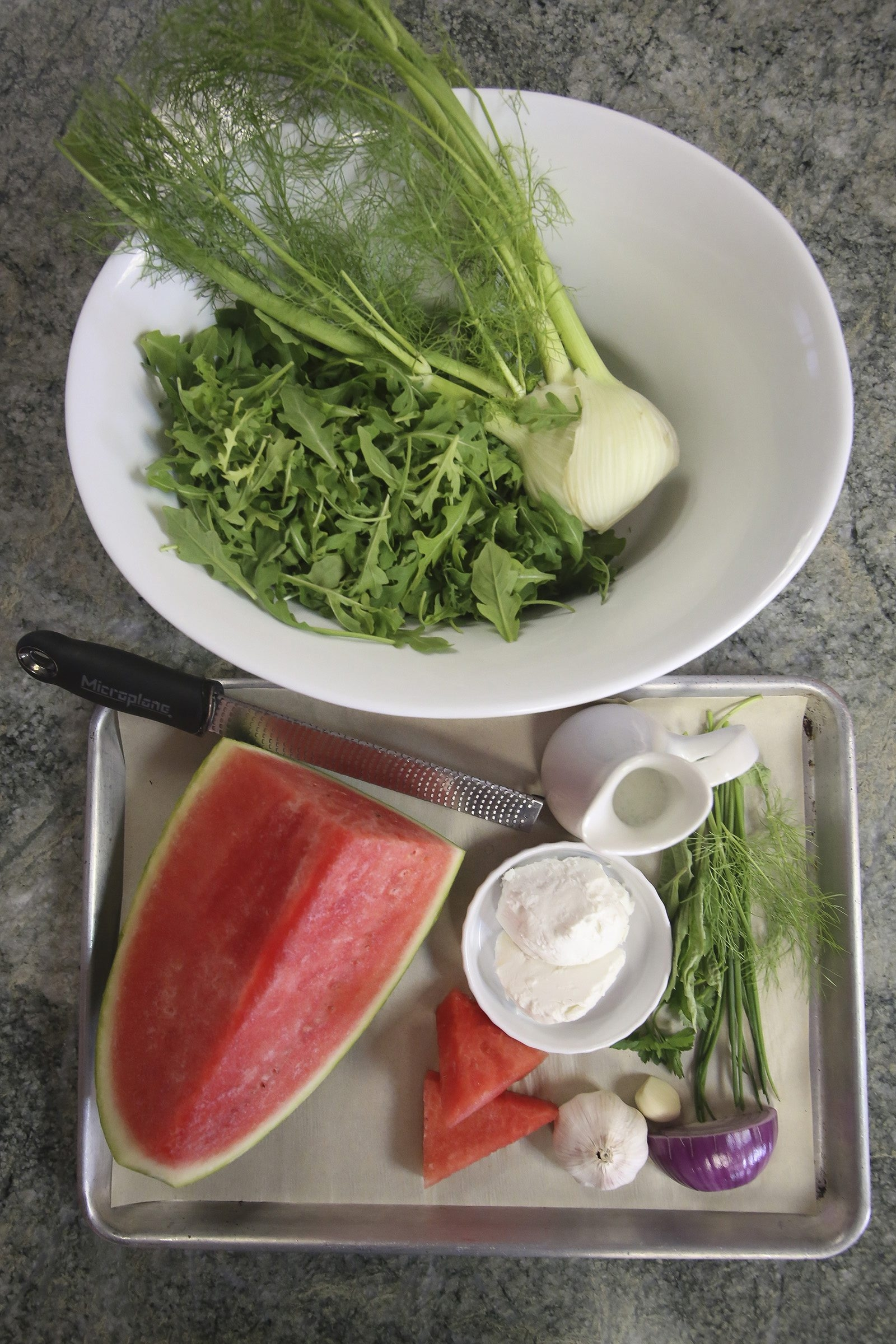 Ingredients for watermelon, fennel and arugula salad by Lenore Pinello of In The Kitchen in Tequesta Friday, May 9, 2014. (Bruce R. Bennett / The Palm Beach Post)