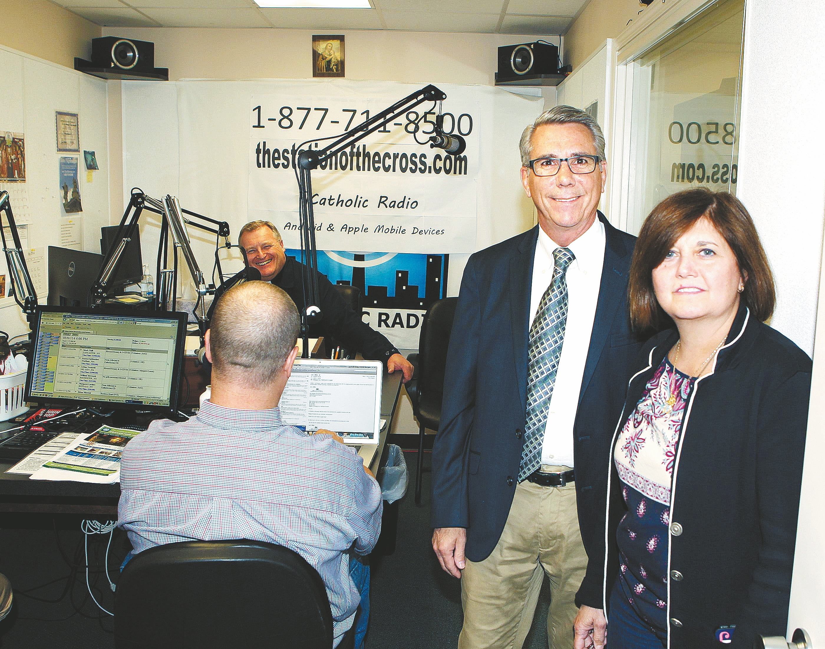 Joanne and Jim Wright, the co-founders of WLOF, are seen inside the WLOF Catholic Radio studios in early May. WLOF is a leading light in the Catholic Church's international push for evangelization.