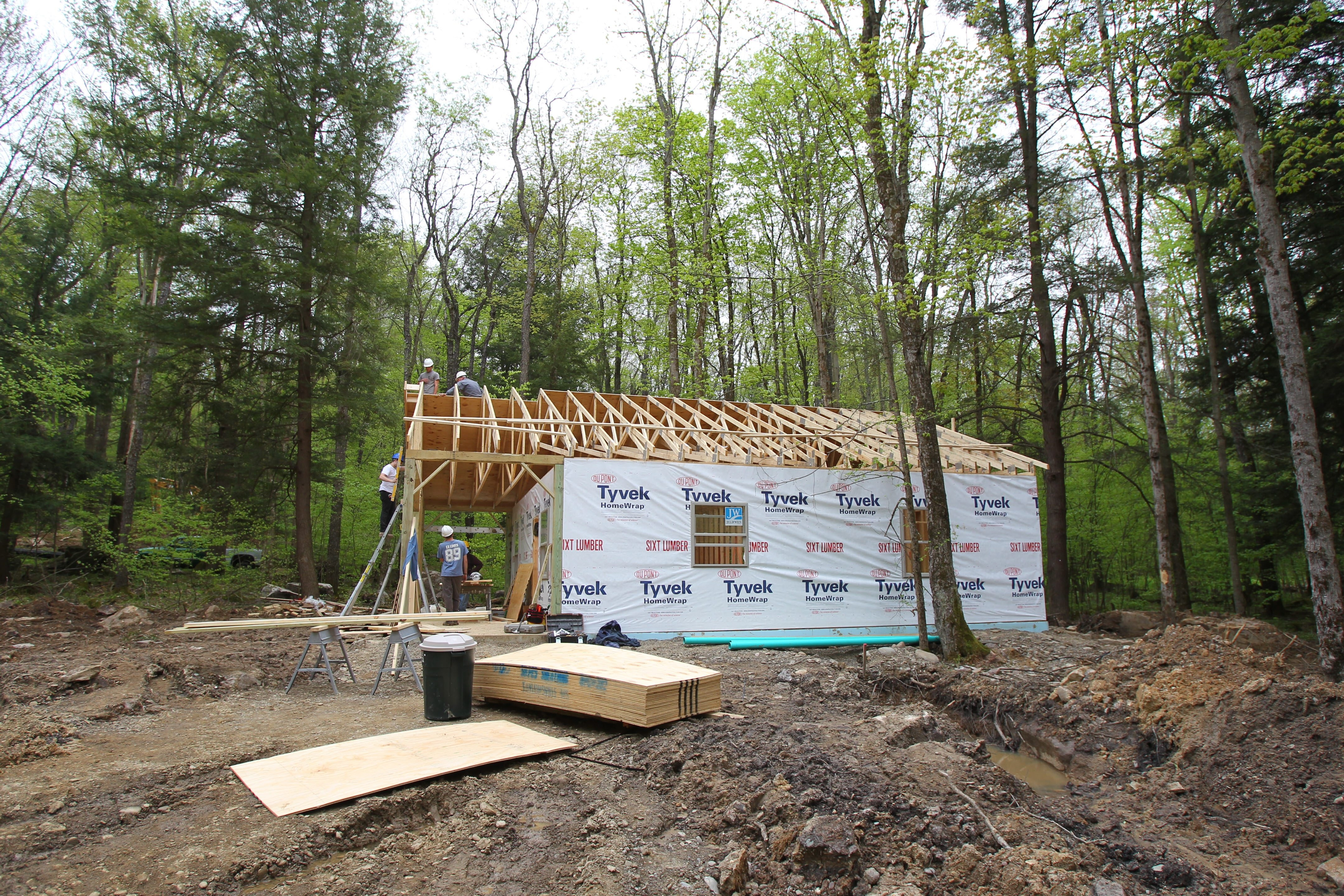 Construction was underway on the new cottages at Allegany State Park in Salamanca on May 20. Some 28 upscale cabins are being built in the park, and they're expected to be available for rental by the end of June.