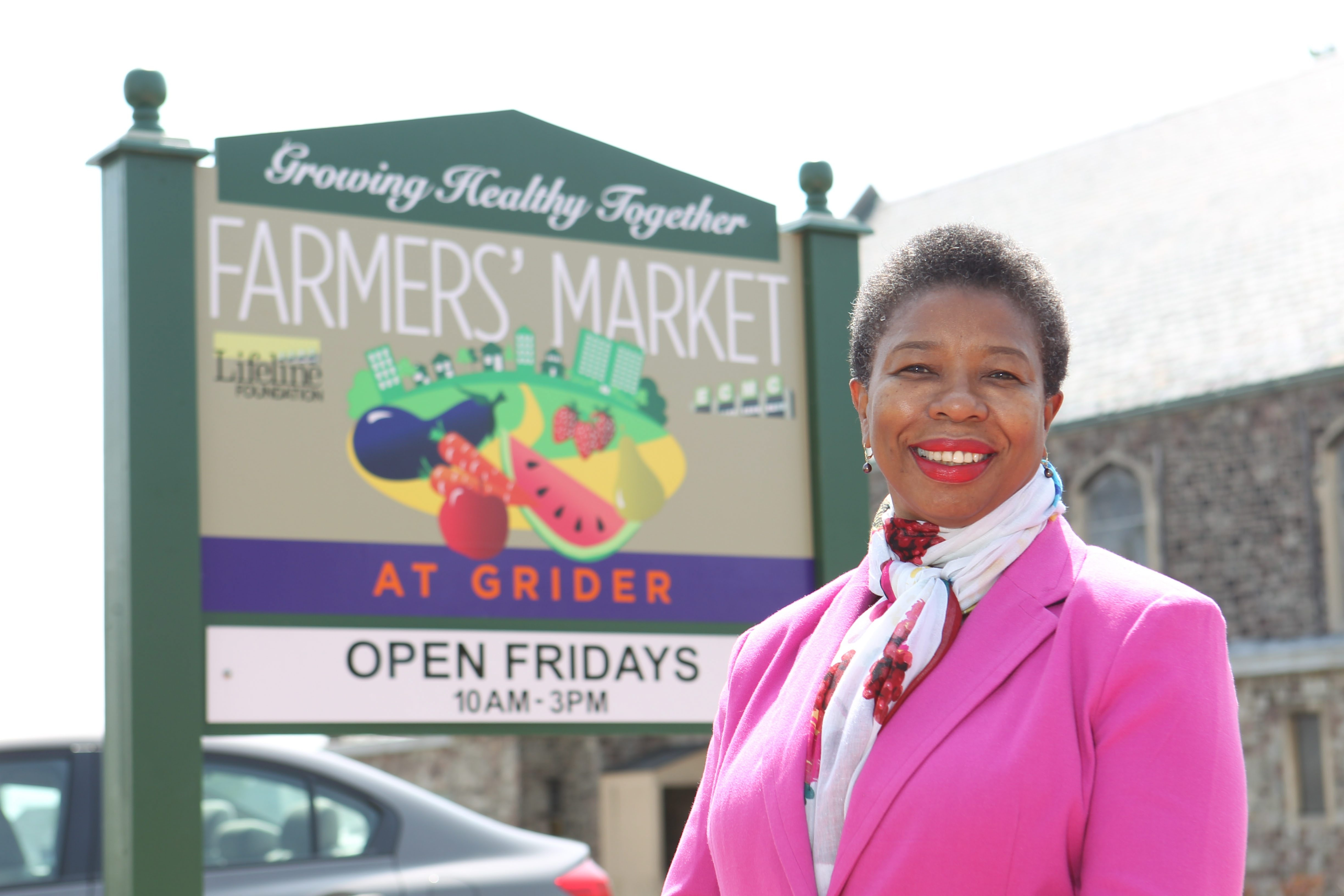 """""""Our market is local, seasonal and fresh,"""" said ECMC's Rita Hubbard-Robinson, who oversees the Farmers' Market at Grider."""