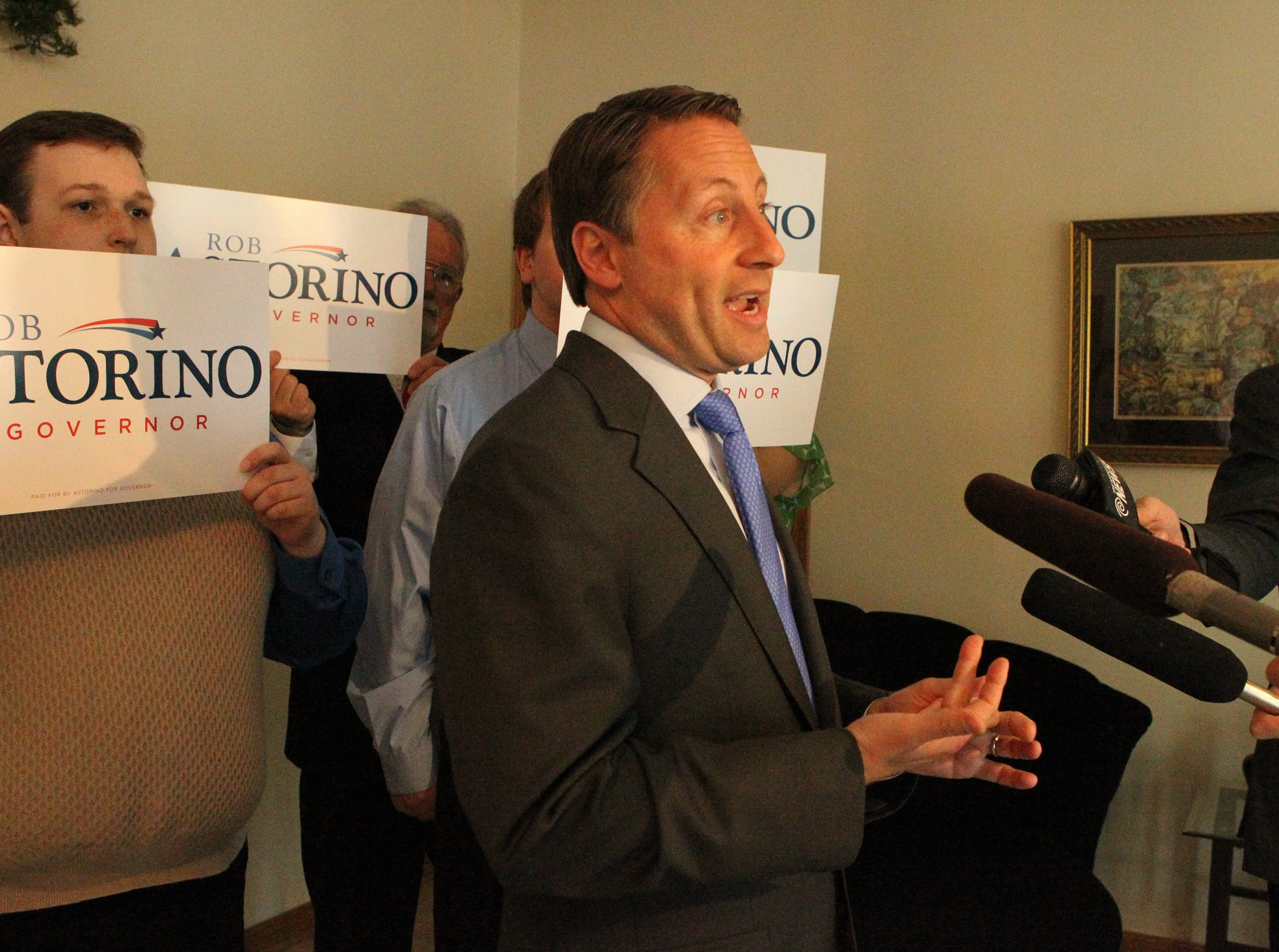 Republican gubernatorial candidate Rob Astorino talked to the media before  attending the Niagara County Republican Party's dinner at Suzanne's Fine Dining in Niagara Falls on Thursday.