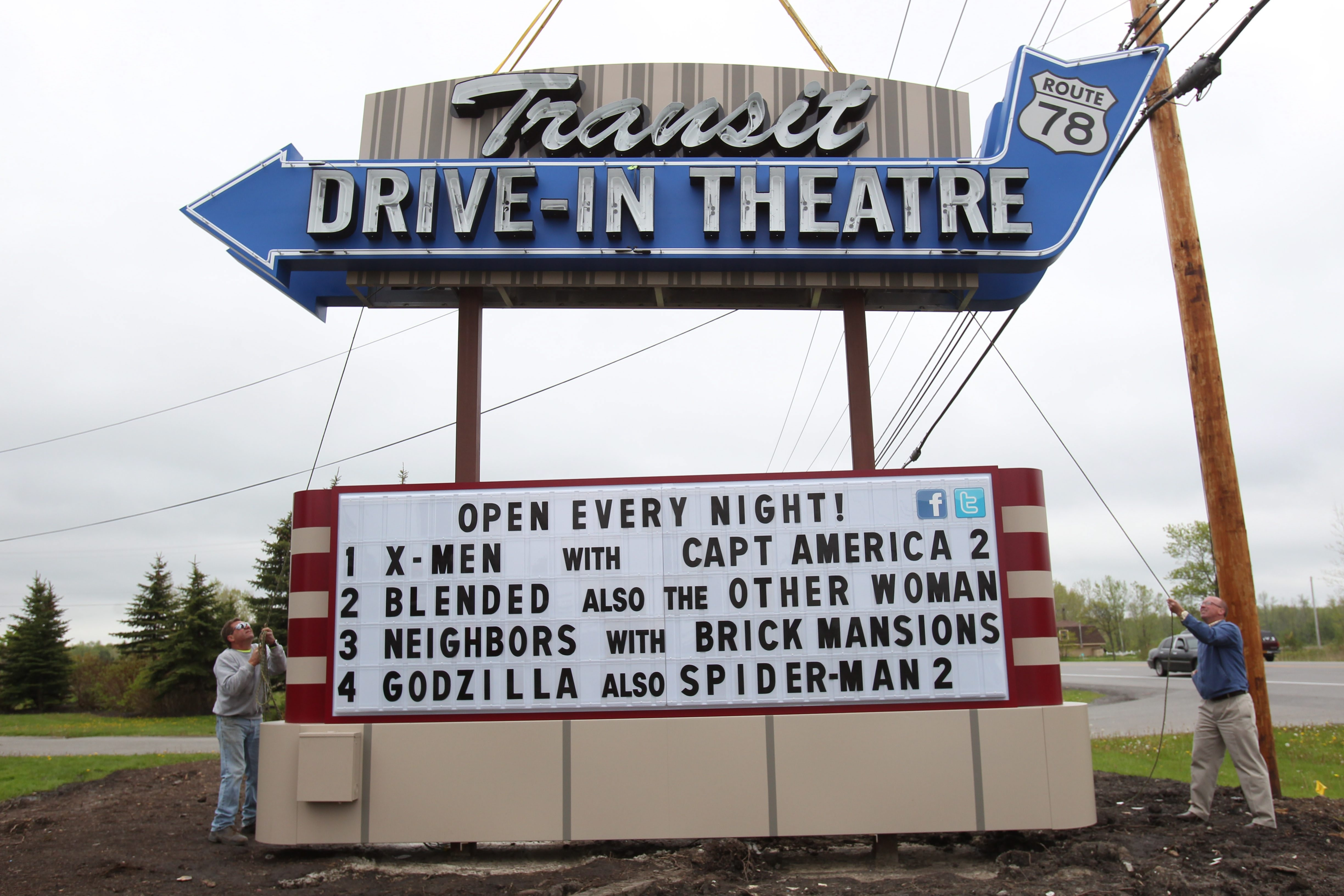 A new 1950s era marquee was installed Friday in front of the Transit Drive-In on Transit Road in Lockport. (Sharon Cantillon/Buffalo News)